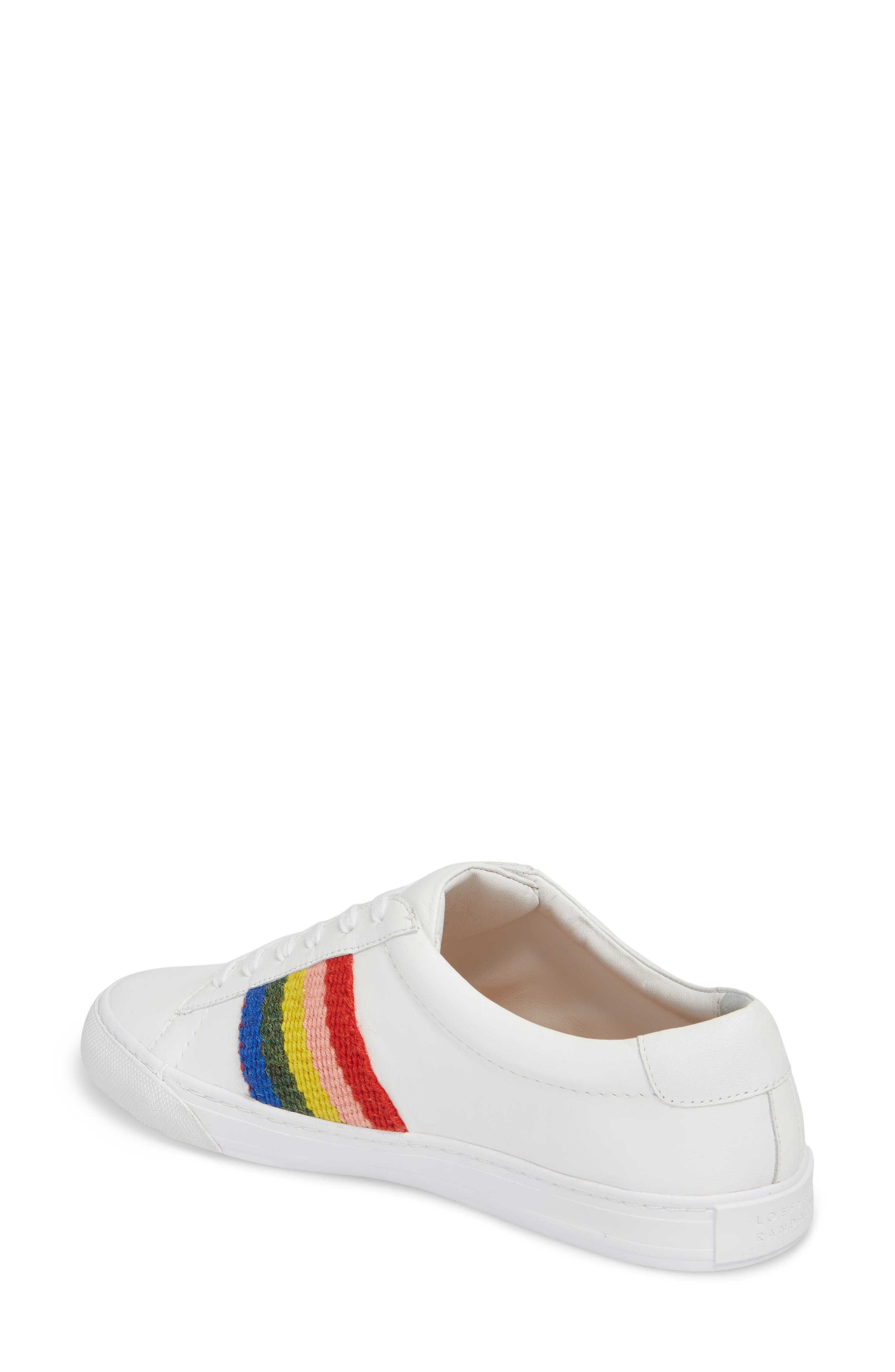Logan Rainbow Sneaker,                             Alternate thumbnail 2, color,                             WHITE/ RAINBOW