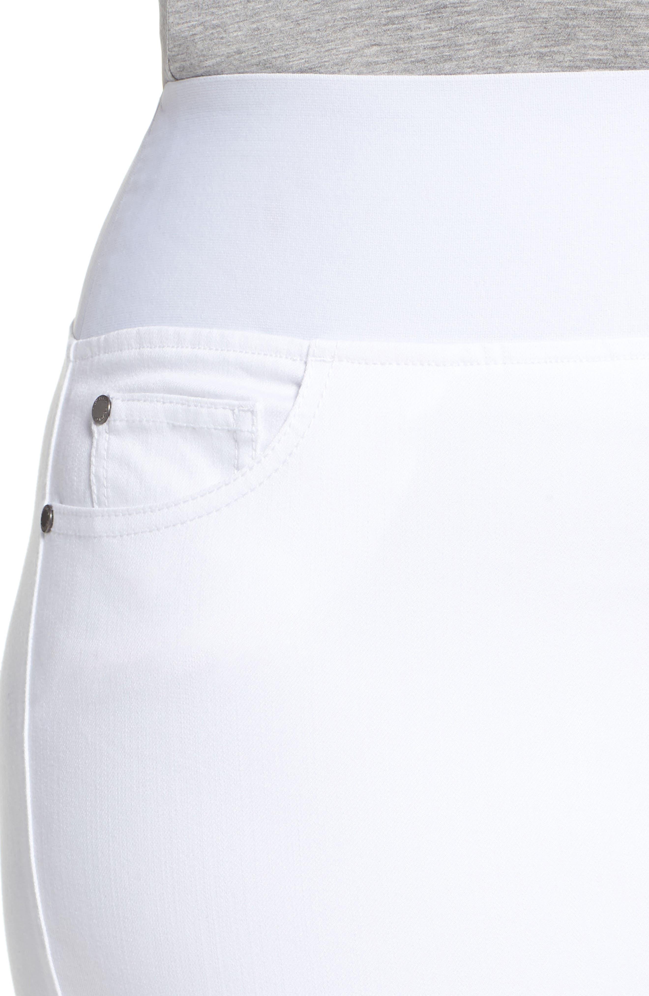 Nina Slimming Pull-On Legging Jeans,                             Alternate thumbnail 4, color,                             WHITE