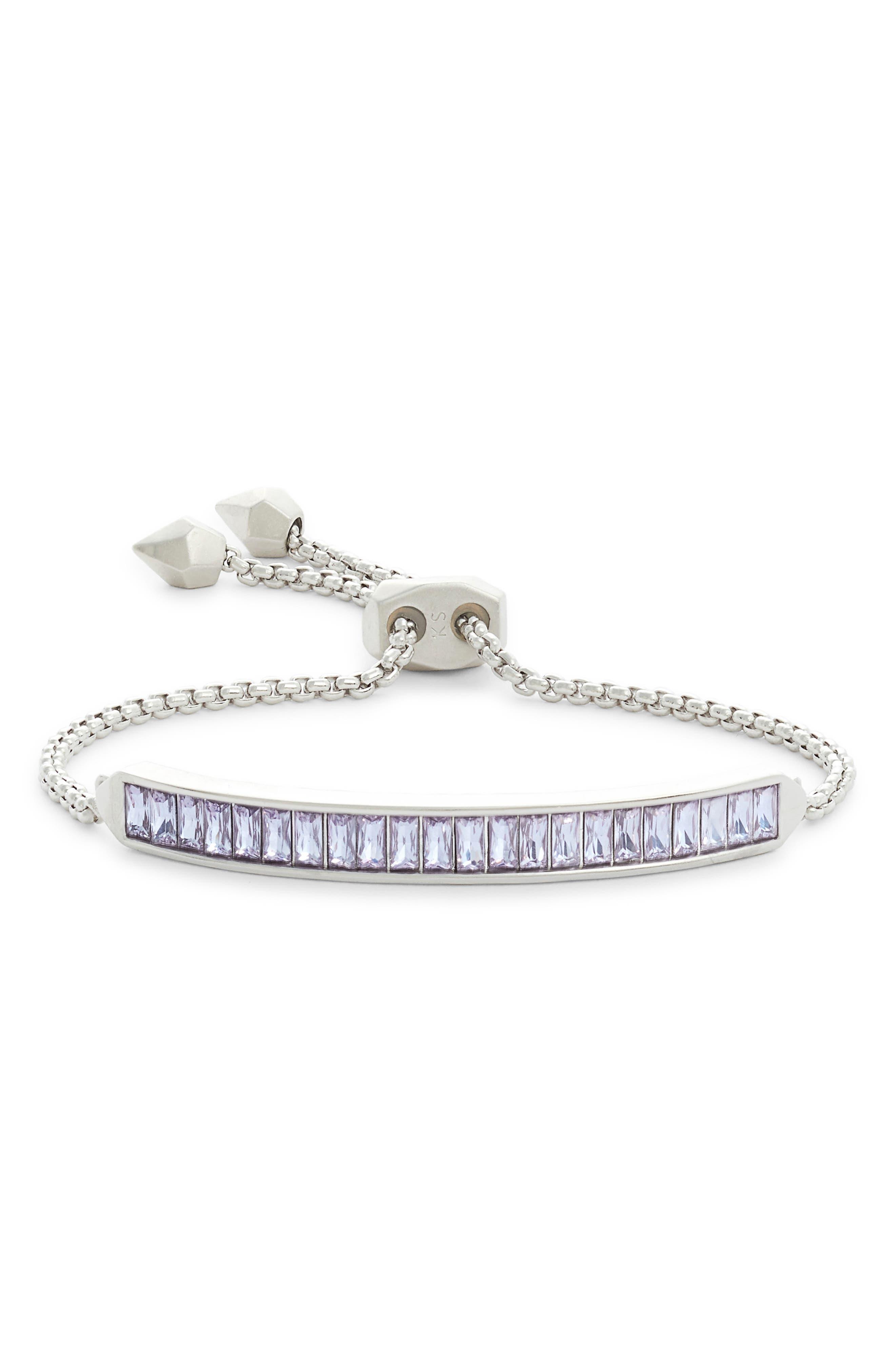 KENDRA SCOTT Jack Baguette Bar Slider Bracelet in Lilac Crystal/ Silver