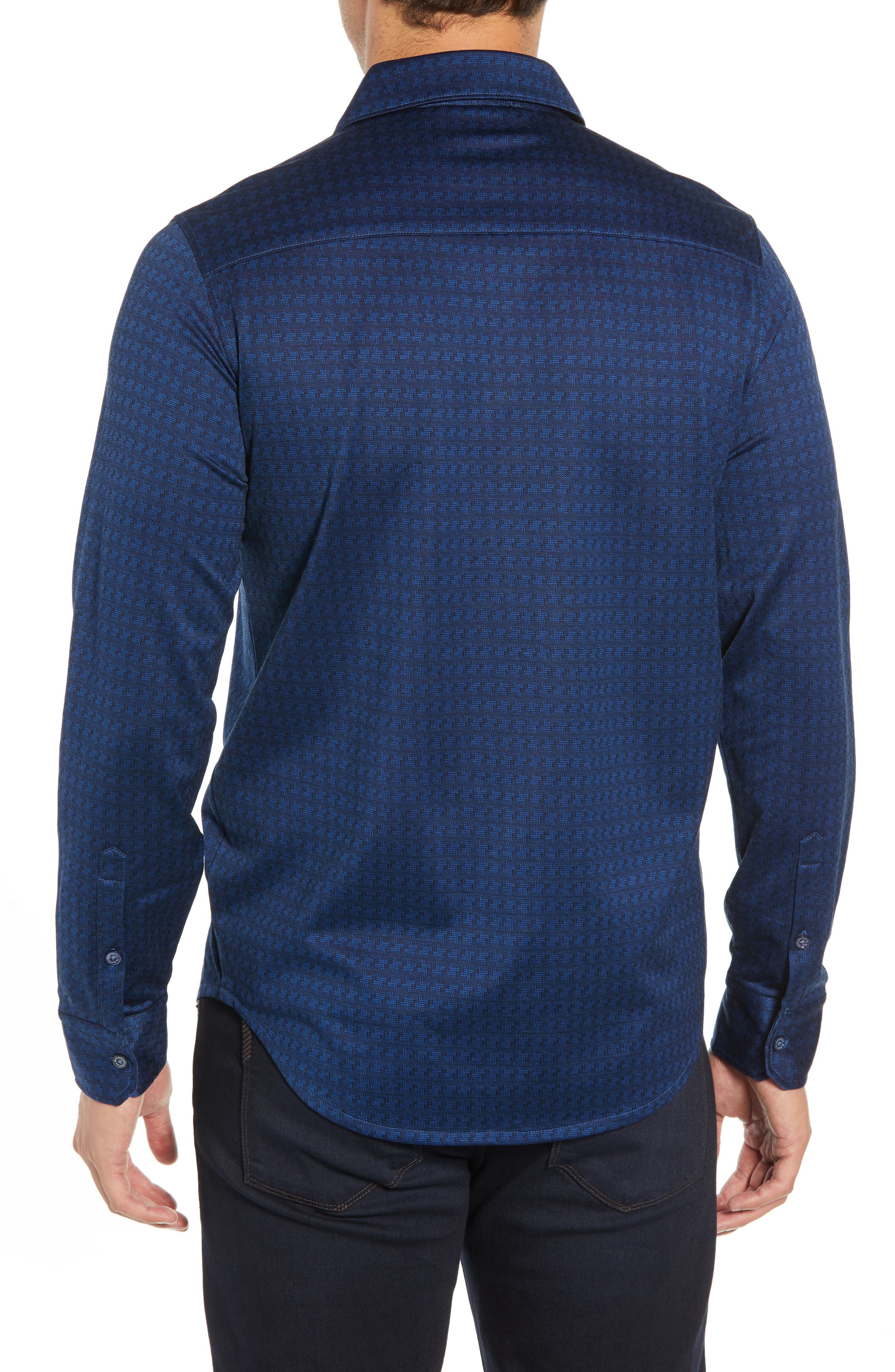 Shaped Fit Geo Knit Sport Shirt,                             Alternate thumbnail 3, color,                             MIDNIGHT