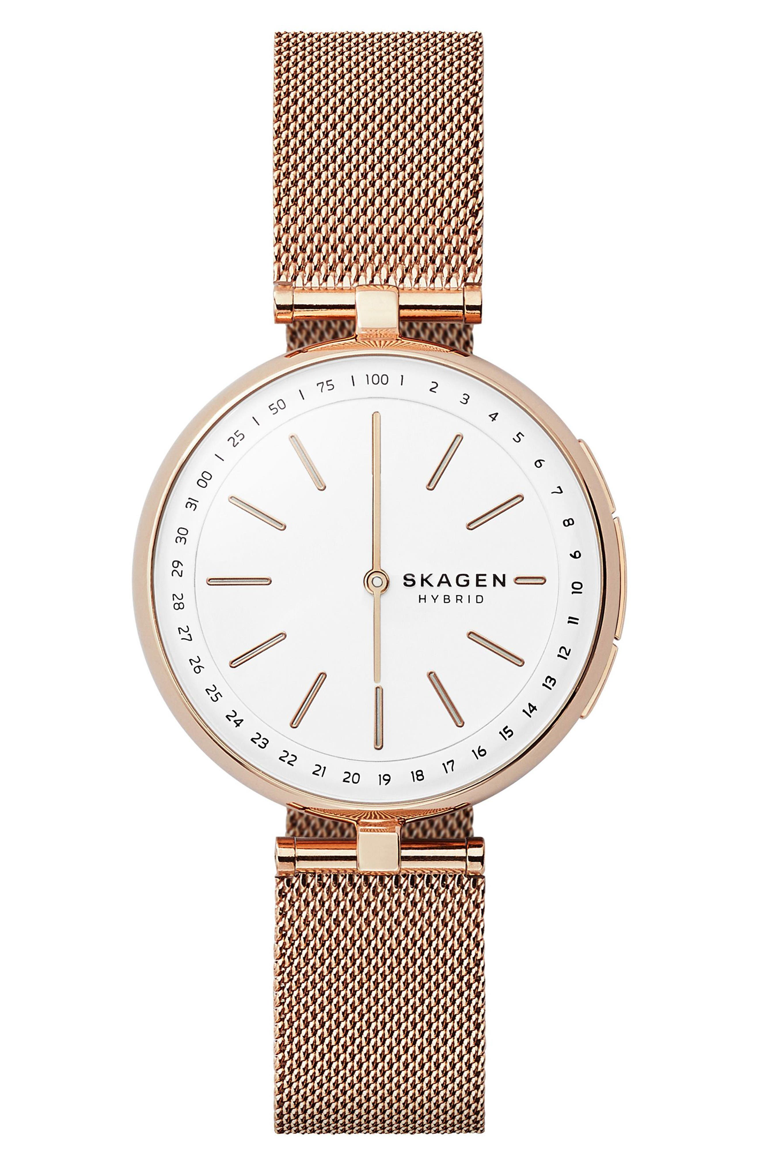 Signatur Connected T-Bar Mesh Strap Hybrid Smart Watch, 36mm,                             Main thumbnail 1, color,                             ROSE GOLD/ WHITE/ ROSE GOLD