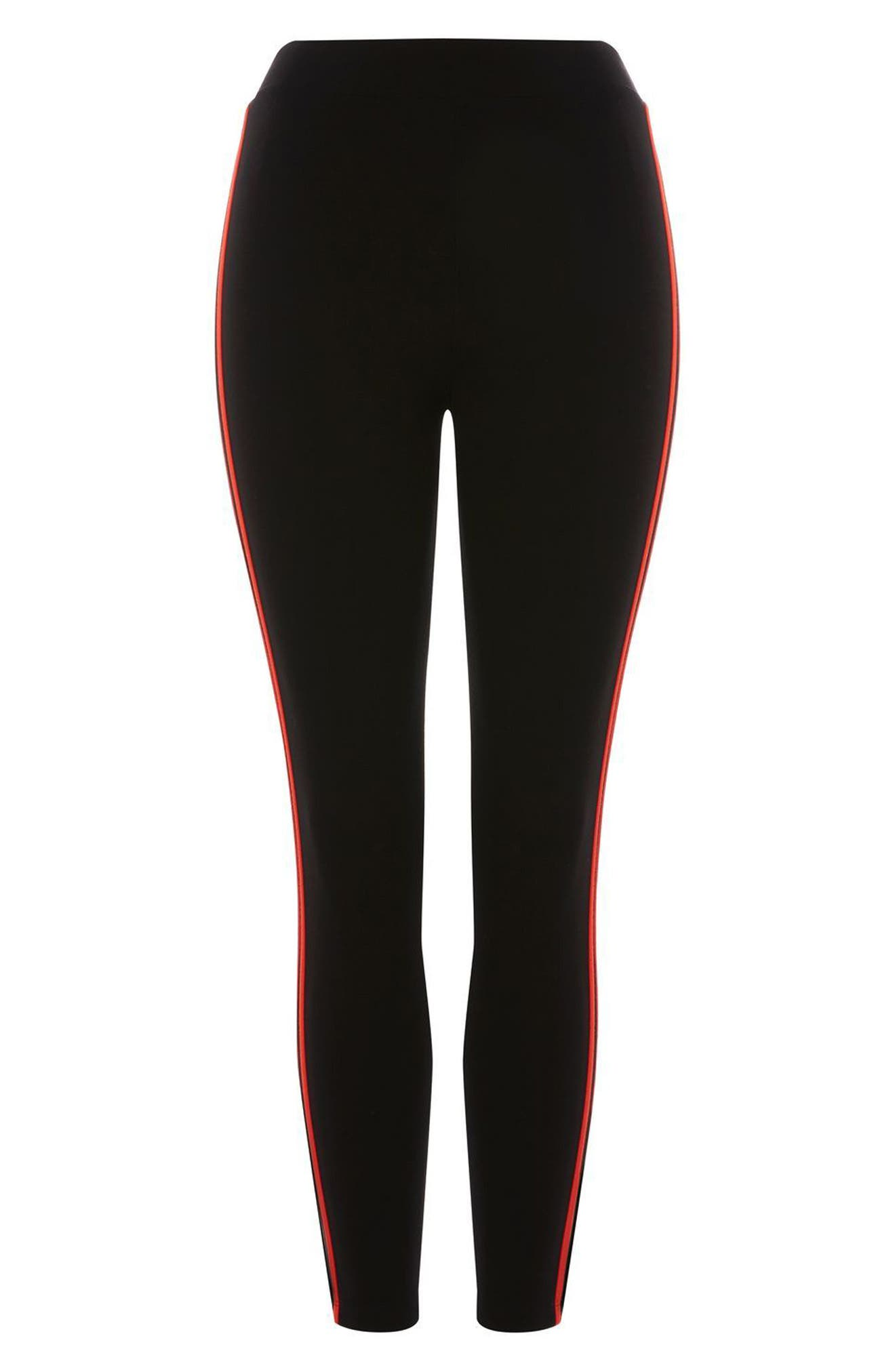 Petite Side Stripe Ponte Leggings,                             Alternate thumbnail 3, color,                             001