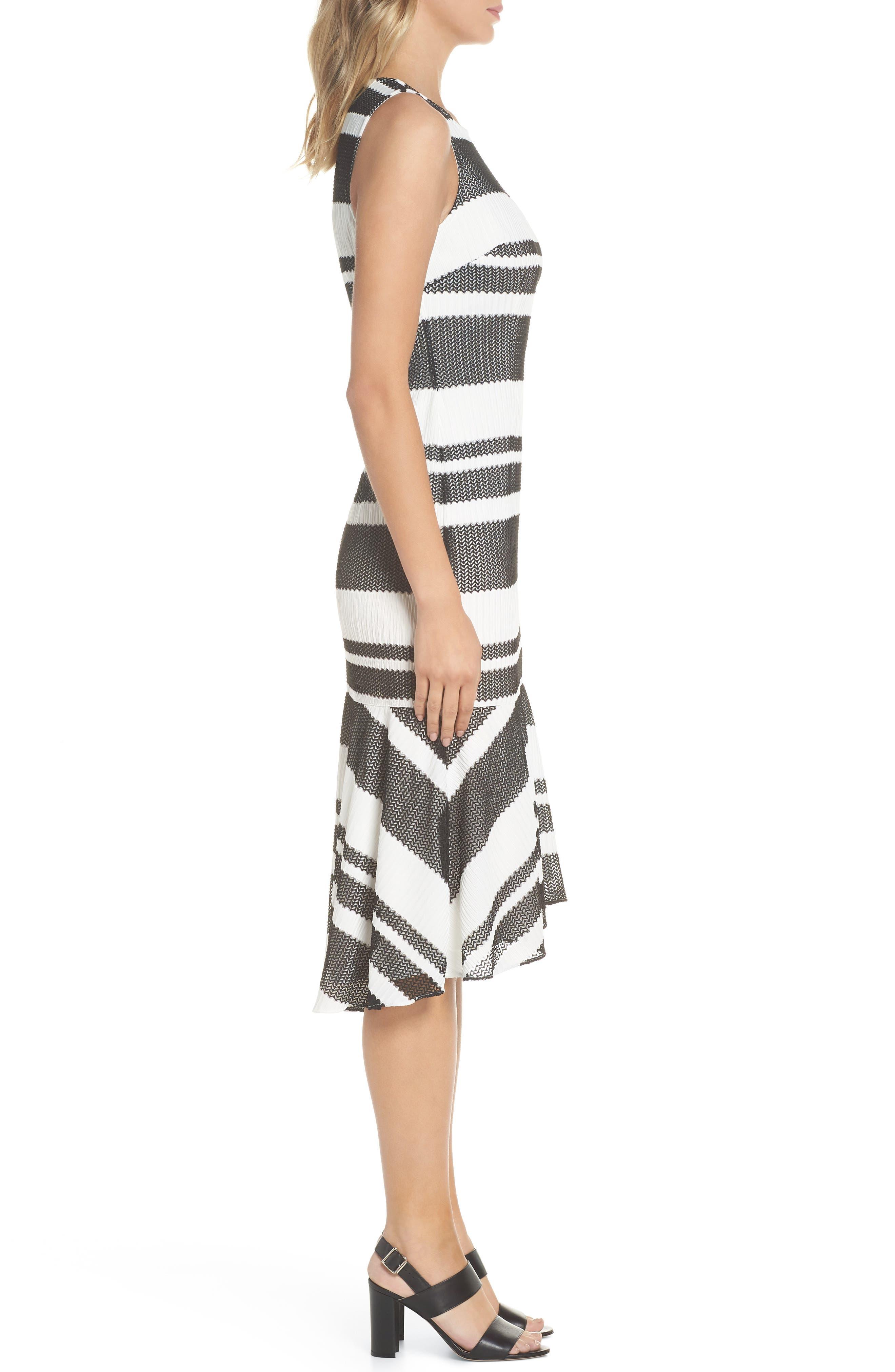 ADRIANNA PAPELL,                             Sleeveless Stripe Trumpet Sheath Dress,                             Alternate thumbnail 3, color,                             004