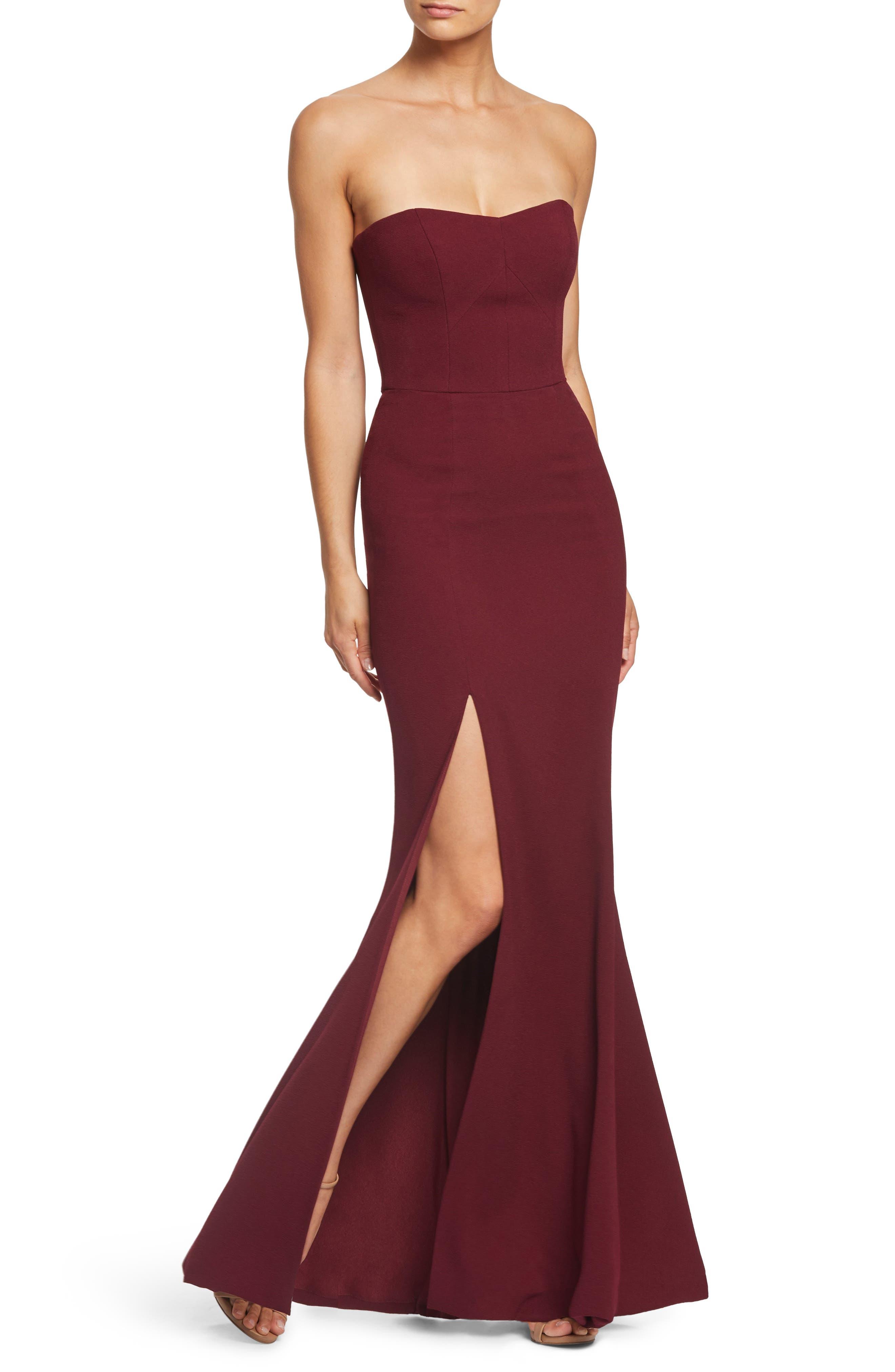 Dress The Population Ellen Strapless Gown, Burgundy