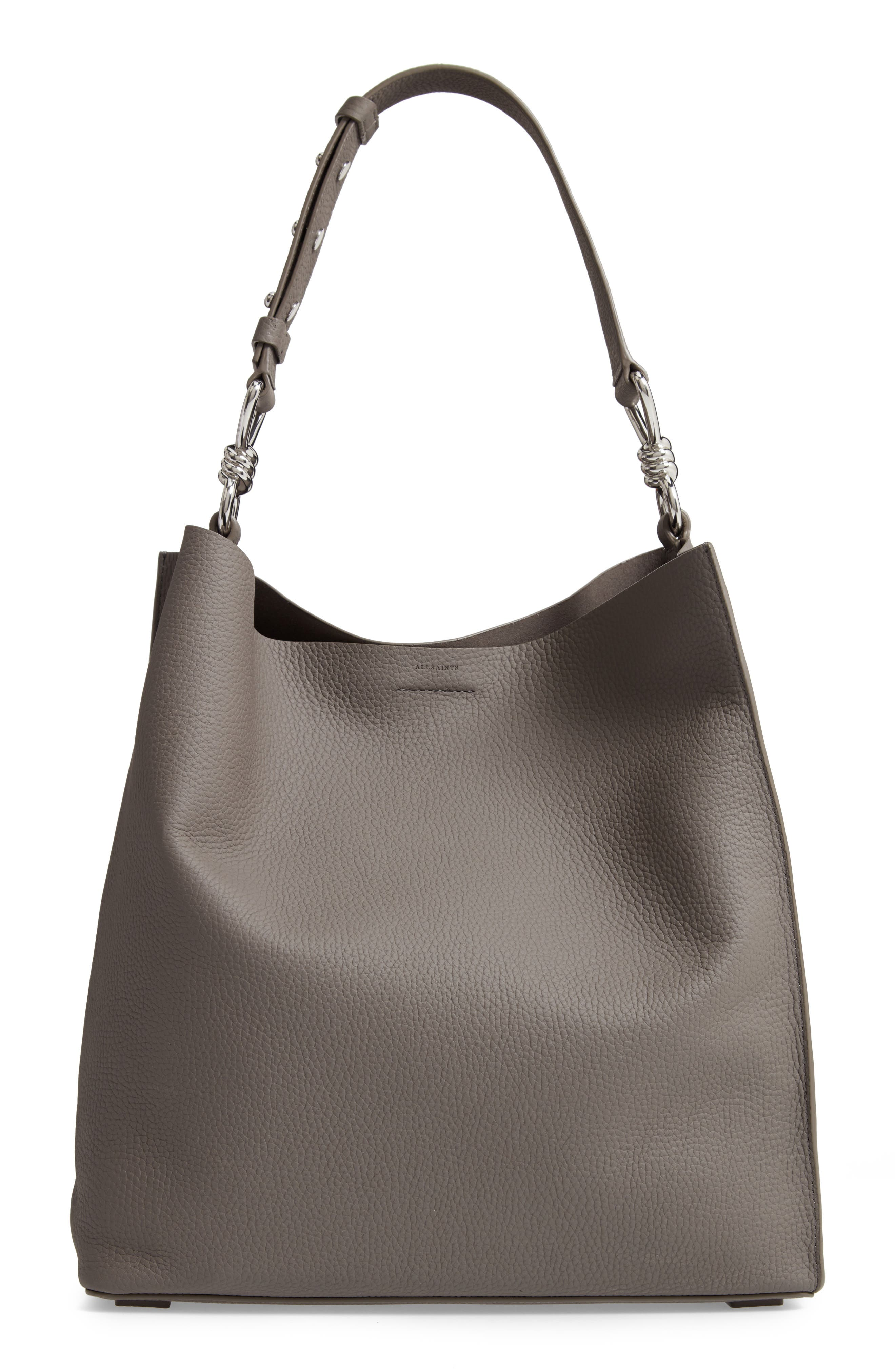 Allsaints Totes CAPTAIN NORTH/SOUTH LEATHER TOTE - GREY