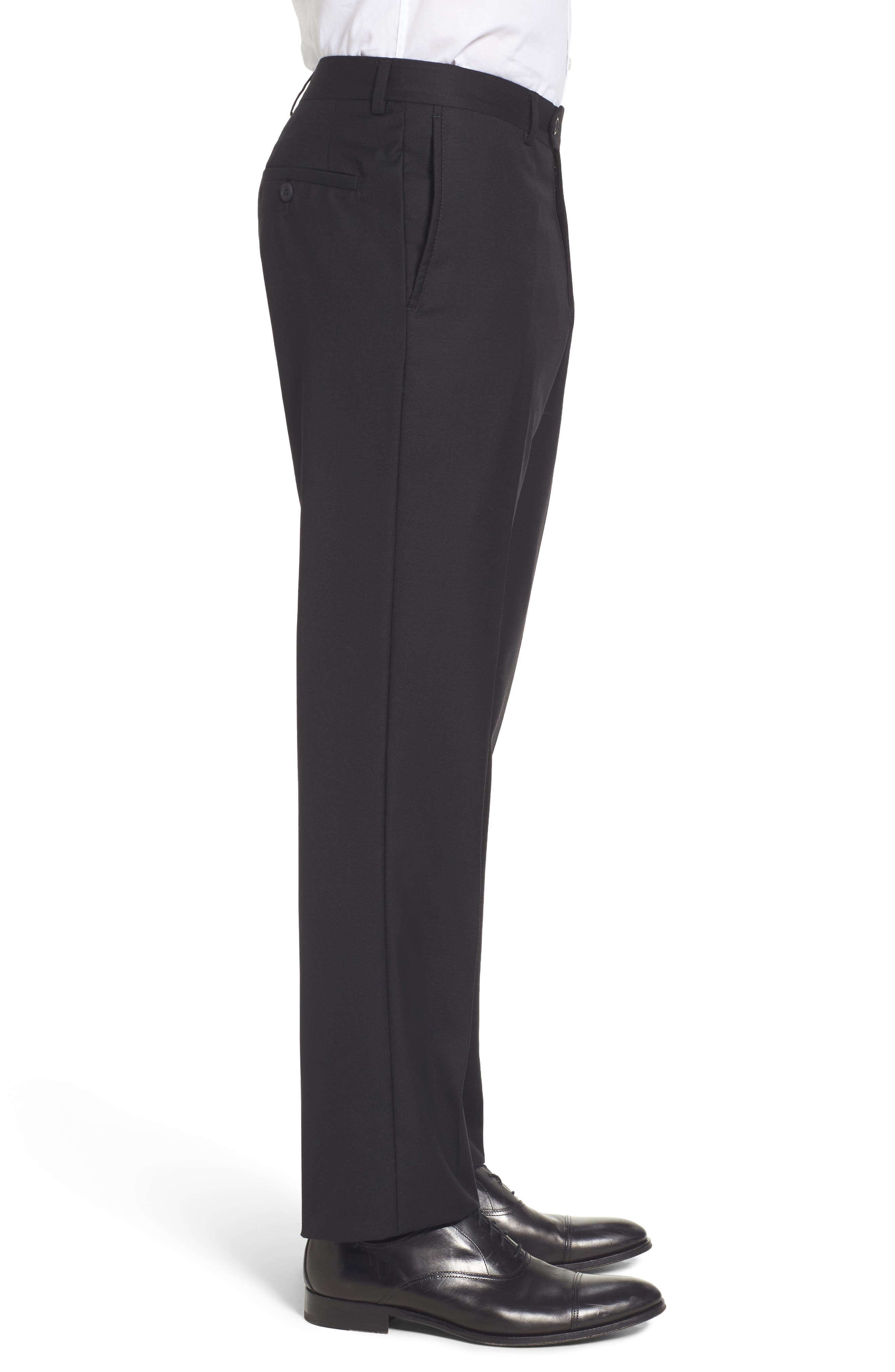 Flat Front Solid Wool Trousers,                             Alternate thumbnail 4, color,                             001