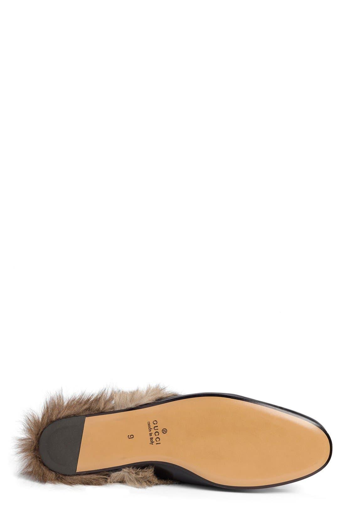 Princetown Genuine Shearling Slipper,                             Alternate thumbnail 4, color,                             BLK-TAN