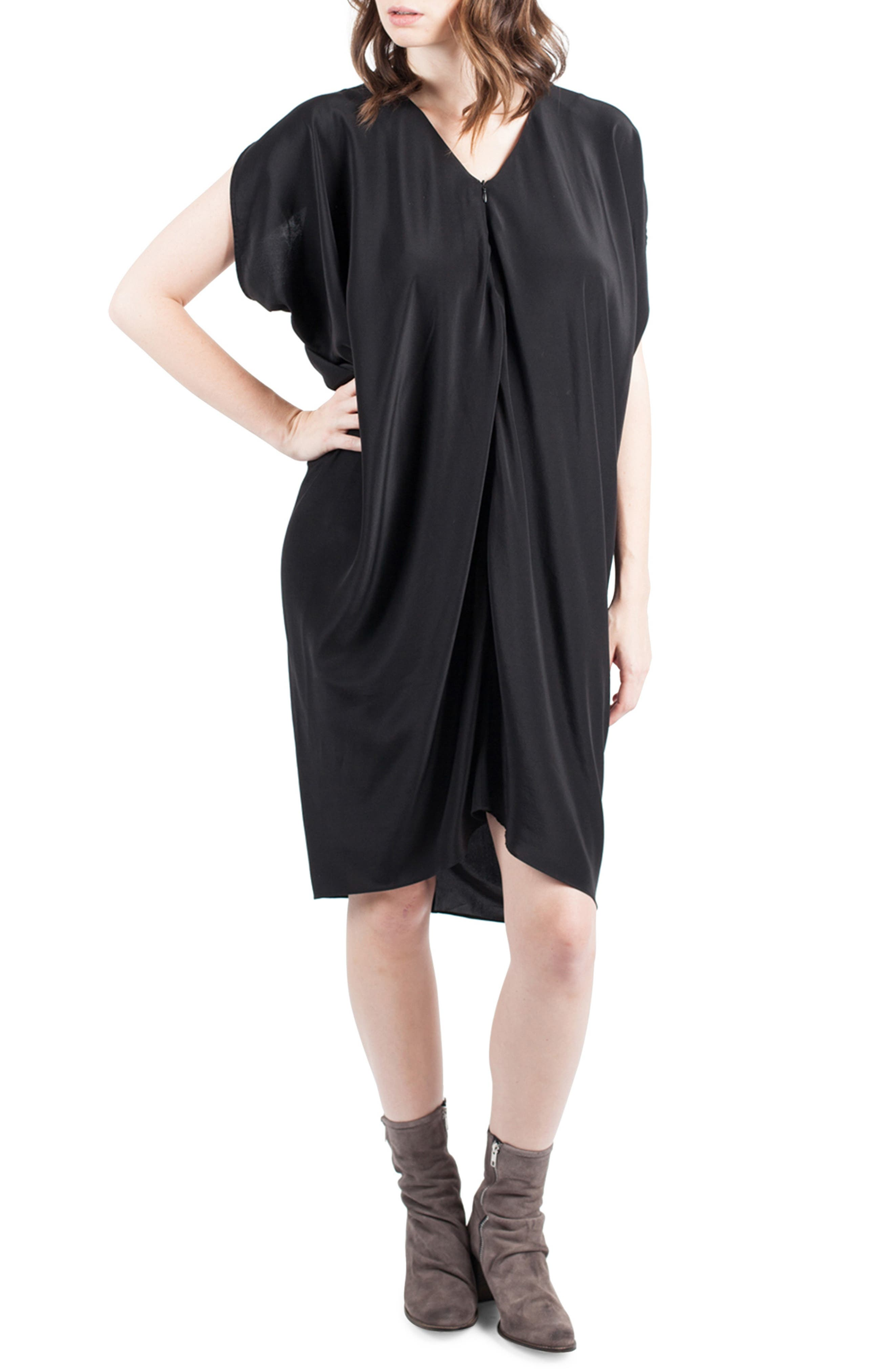 Silk Maternity/Nursing Dress,                             Alternate thumbnail 3, color,                             001