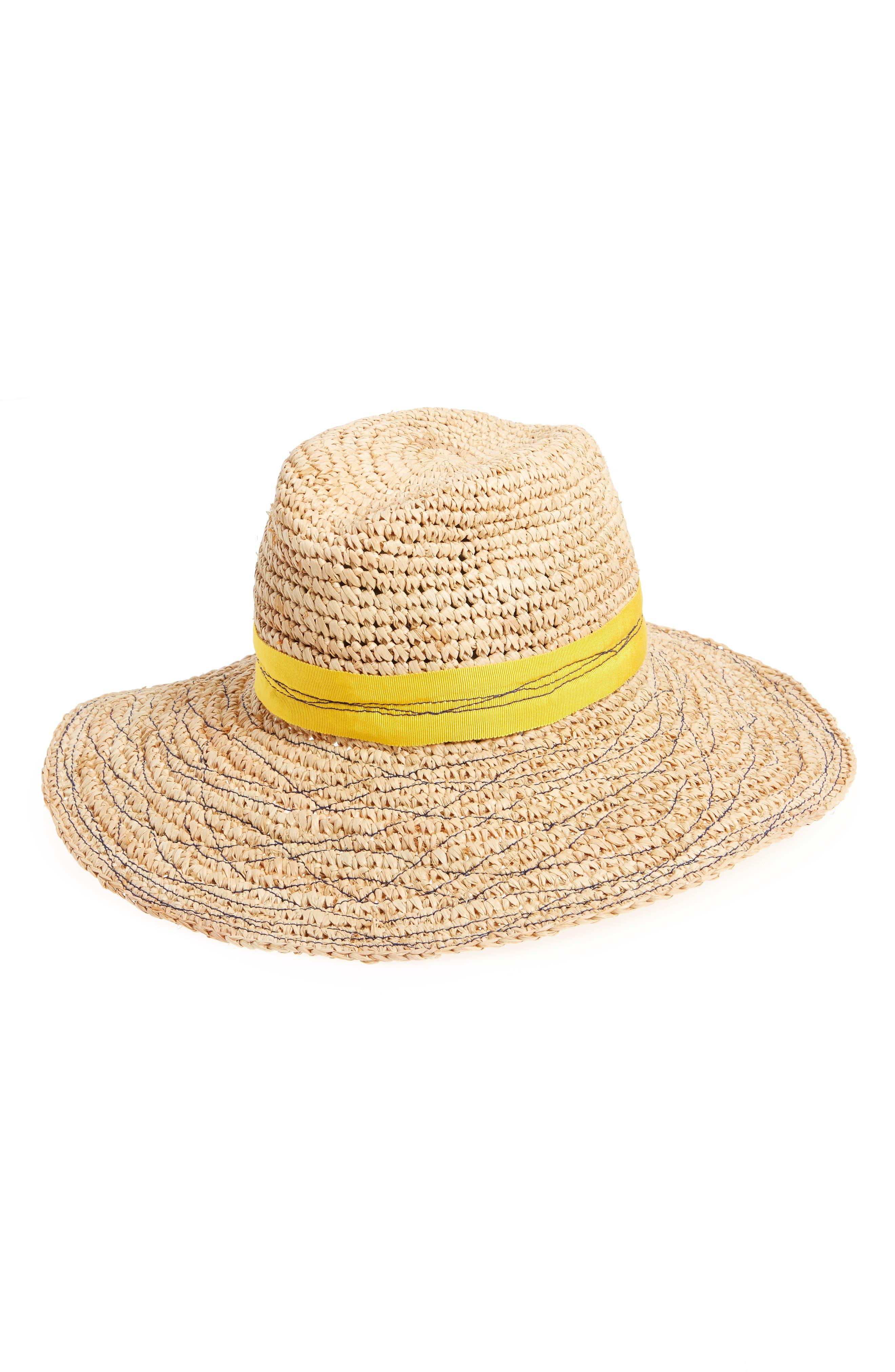 Re-Mama Tarboush Raffia Hat,                         Main,                         color, YELLOW