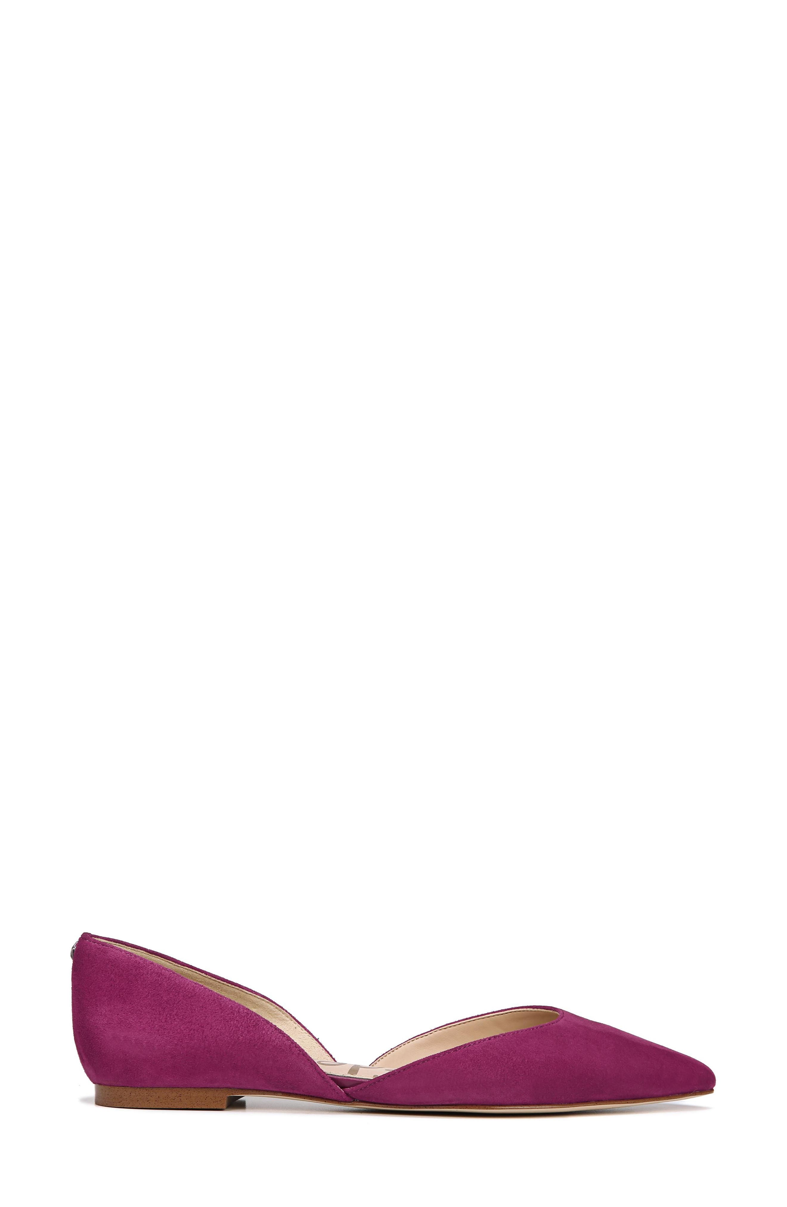 Rodney Pointy Toe d'Orsay Flat,                             Alternate thumbnail 3, color,                             PURPLE PLUM SUEDE