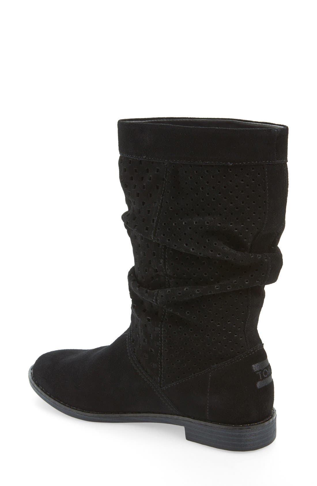 'Serra' Perforated Slouch Boot,                             Alternate thumbnail 3, color,                             001
