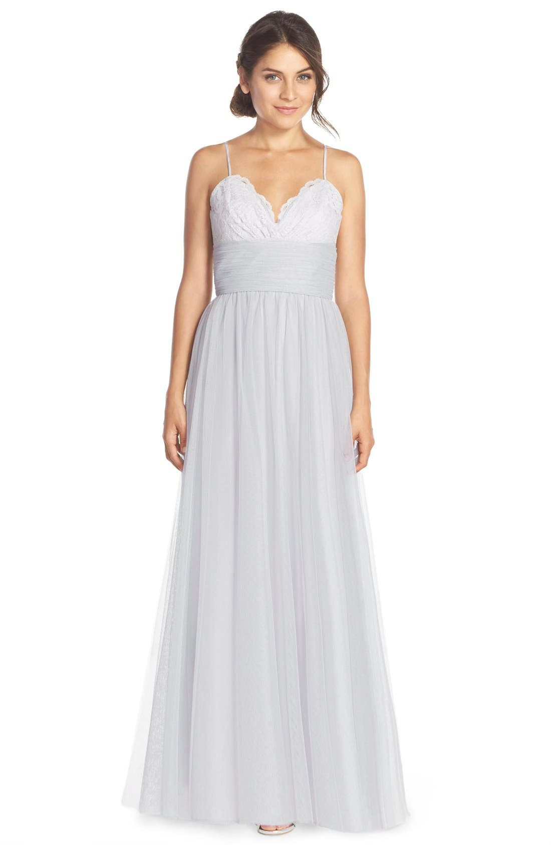 Lace & Tulle Spaghetti Strap Gown, Main, color, 020