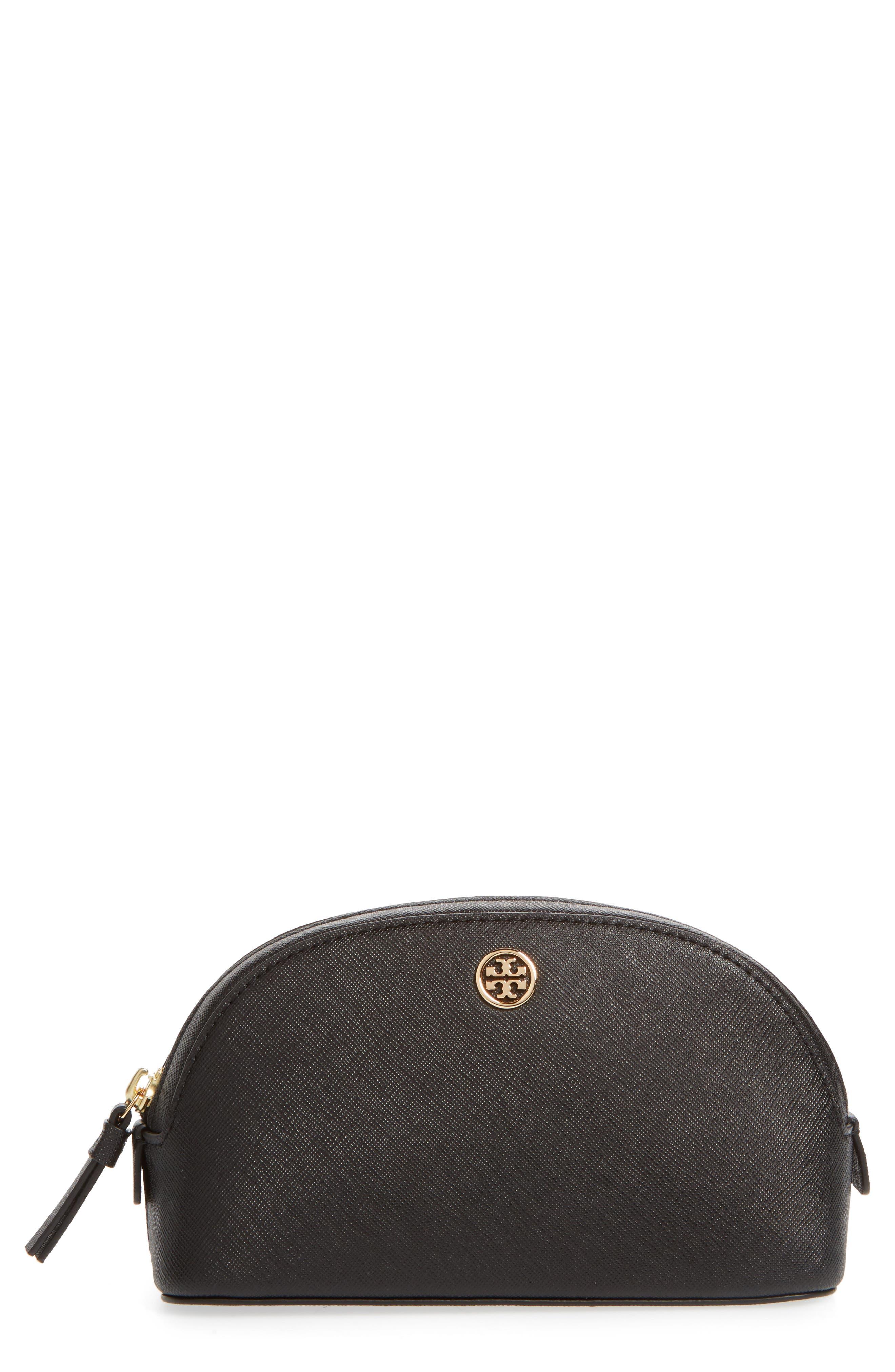 Robinson Small Leather Cosmetic Bag,                             Main thumbnail 1, color,                             BLACK / ROYAL NAVY