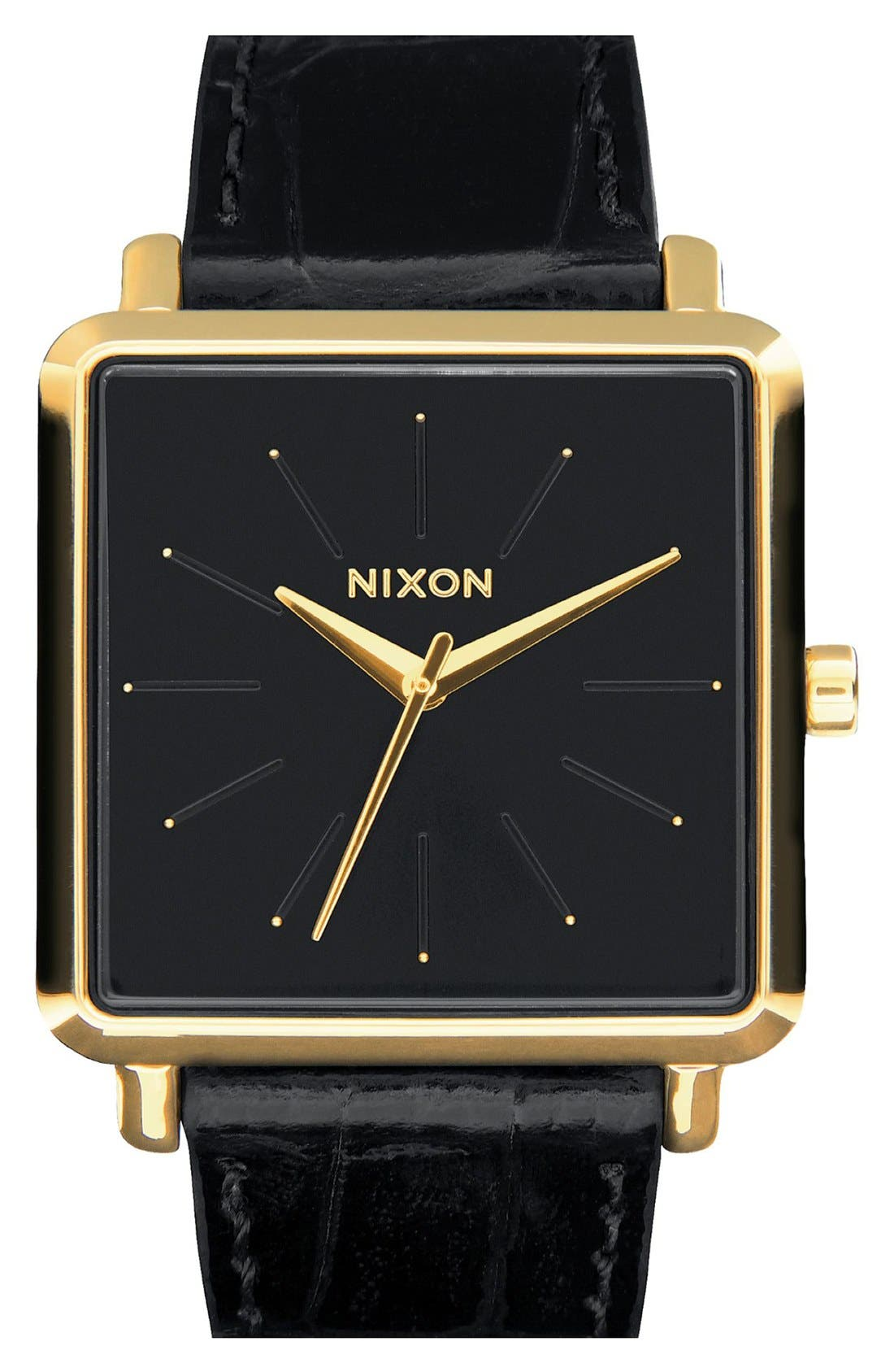'The K Squared' Leather Strap Watch, 32mm x 30mm, Main, color, BLACK/ GOLD