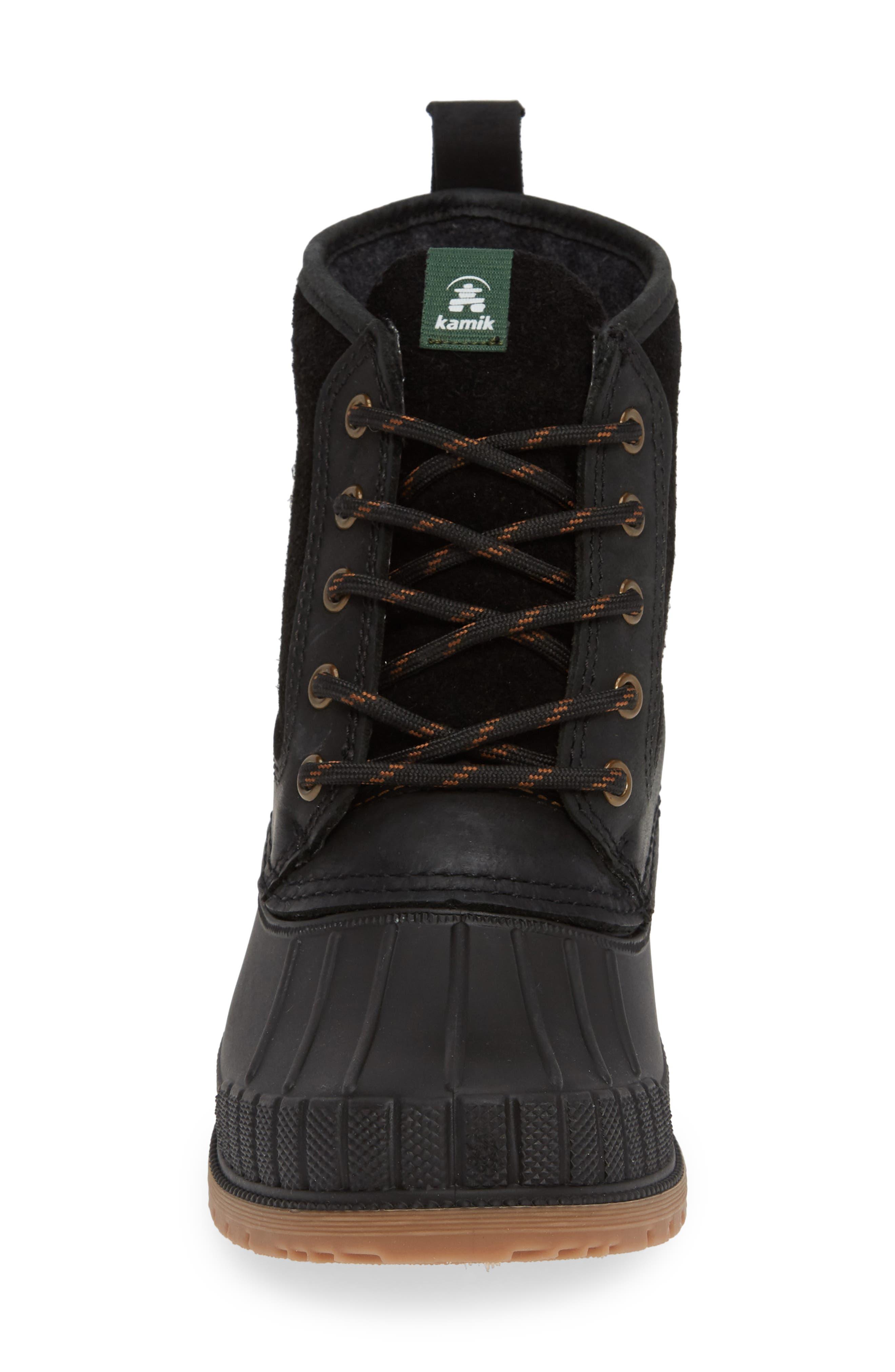 Sienna Waterproof Duck Boot,                             Alternate thumbnail 4, color,                             BLACK LEATHER