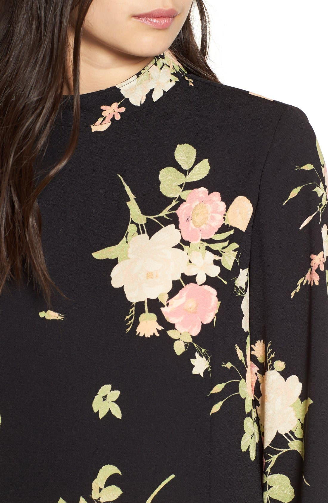 Floral Print Mock Neck Shift Dress,                             Alternate thumbnail 3, color,                             001