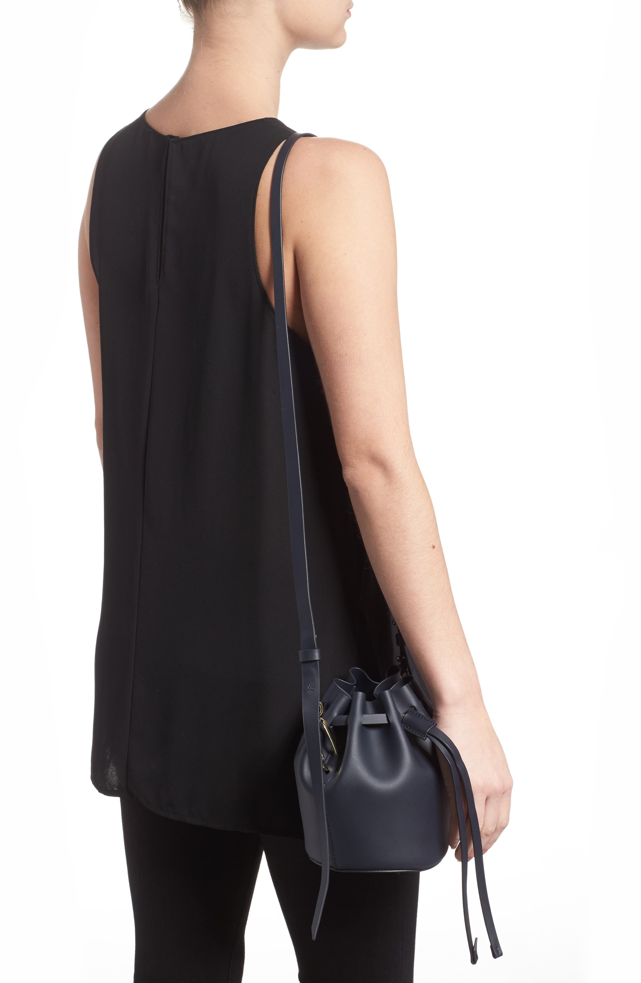 Mini Belay Calfskin Leather Drawstring Bag,                             Alternate thumbnail 5, color,