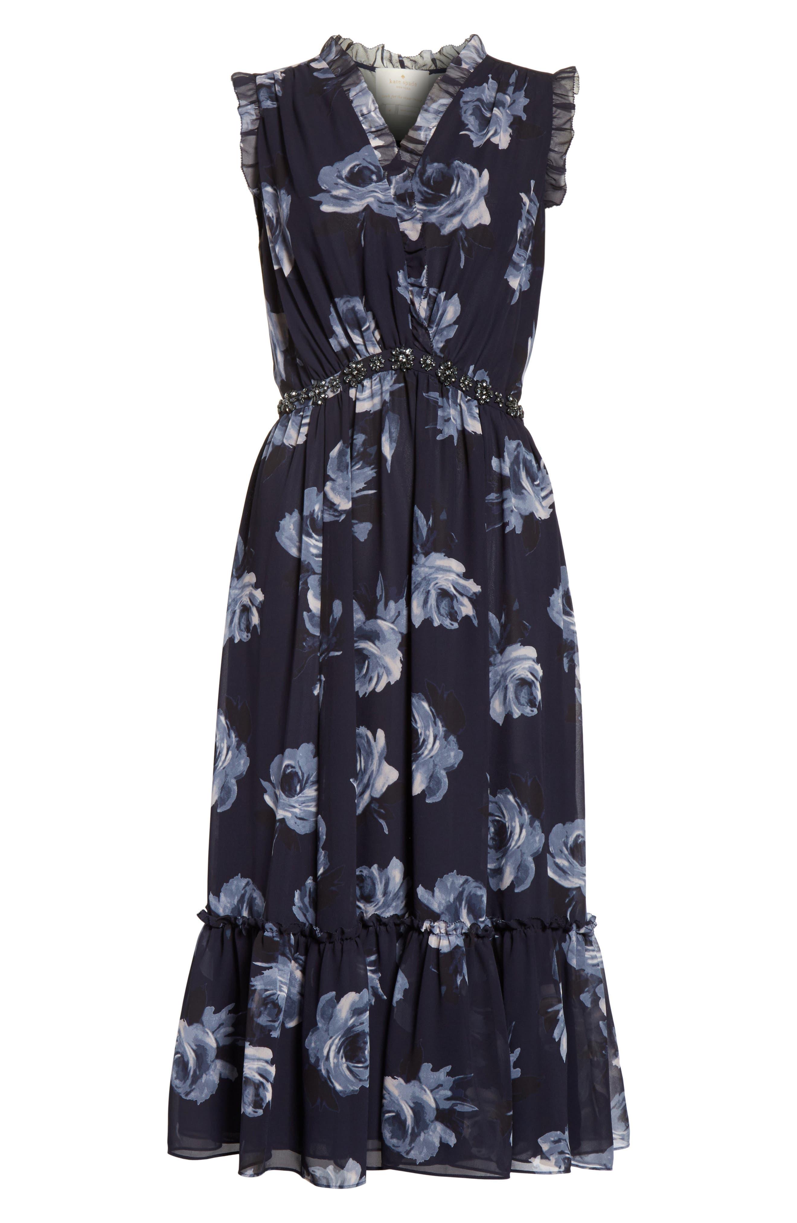 kade spade new york Night Rose Chiffon Midi Dress,                             Alternate thumbnail 6, color,                             473