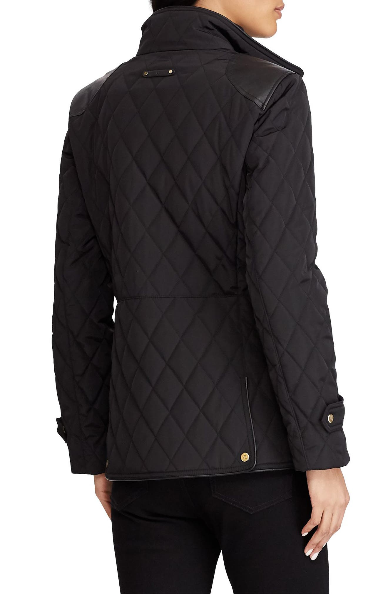 Quilted Faux Leather Trim Jacket,                             Alternate thumbnail 2, color,                             001