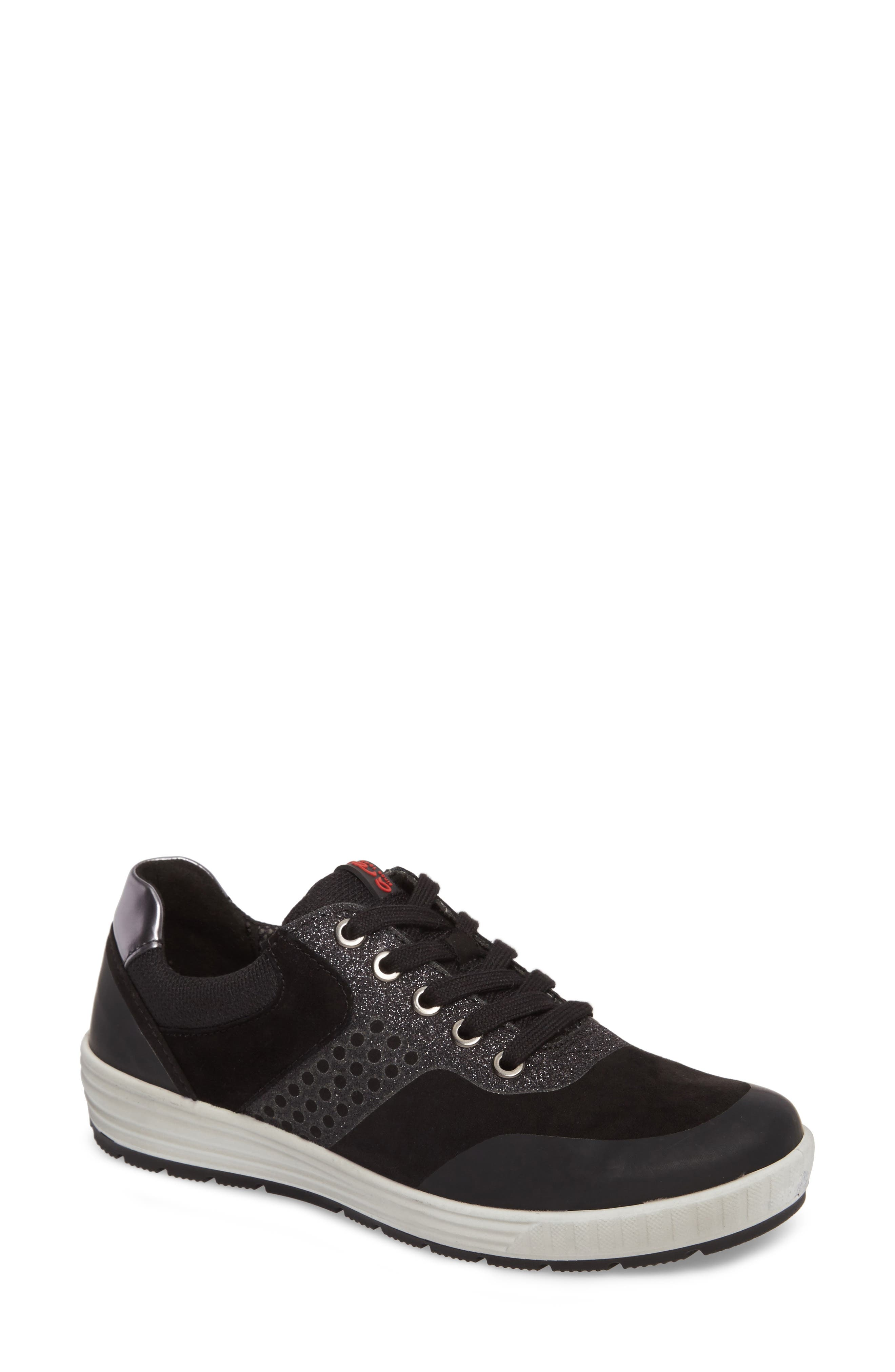 ARA Natalie Sneaker, Main, color, BLACK LEATHER