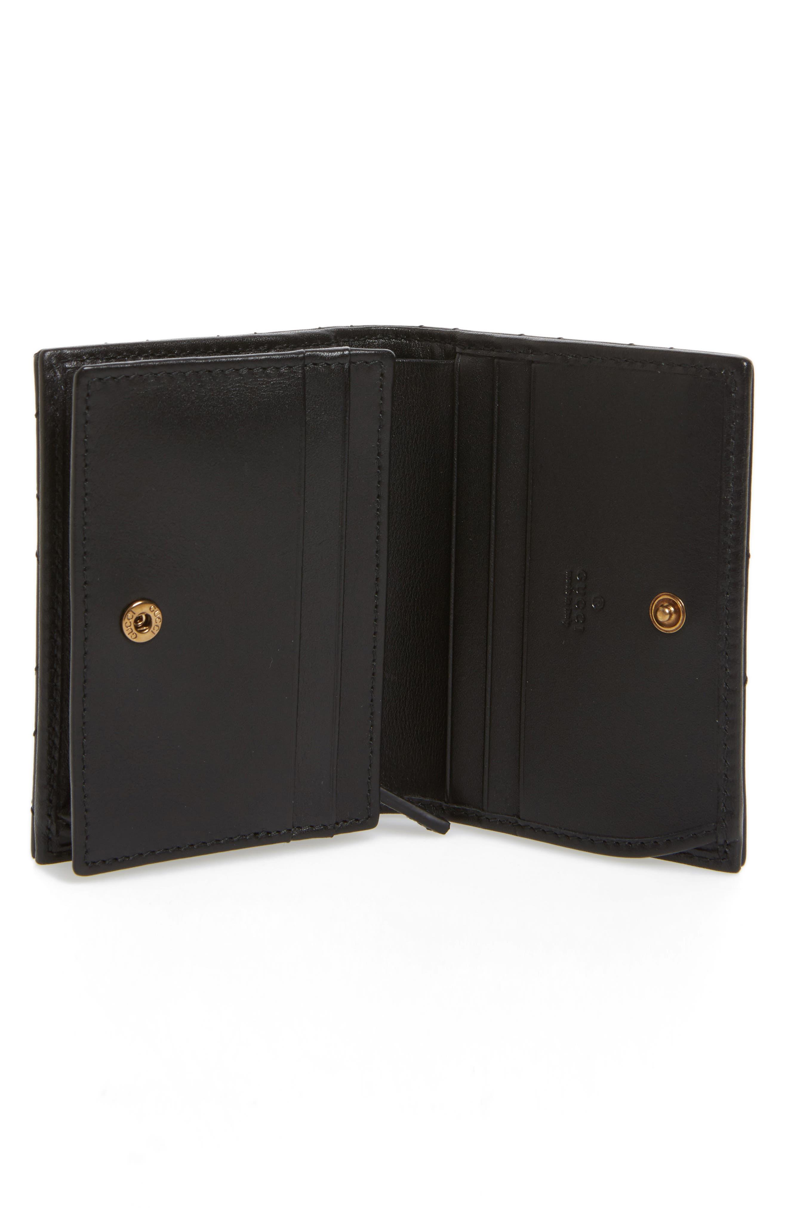 GG Marmont 2.0 Moth Matelassé Leather Card Case,                             Alternate thumbnail 2, color,                             001