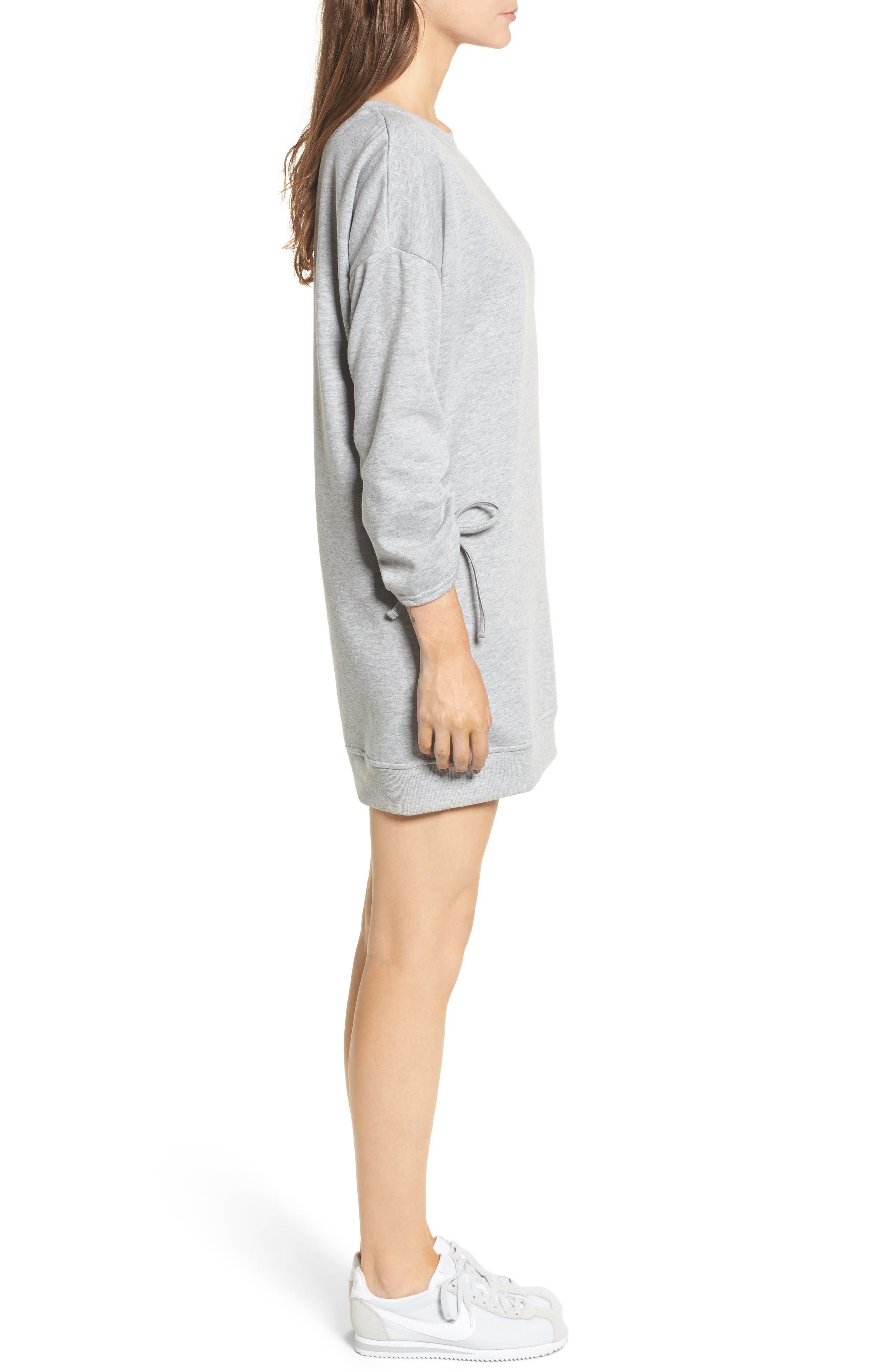Ruched Sleeve Sweatshirt Dress,                             Alternate thumbnail 3, color,                             020