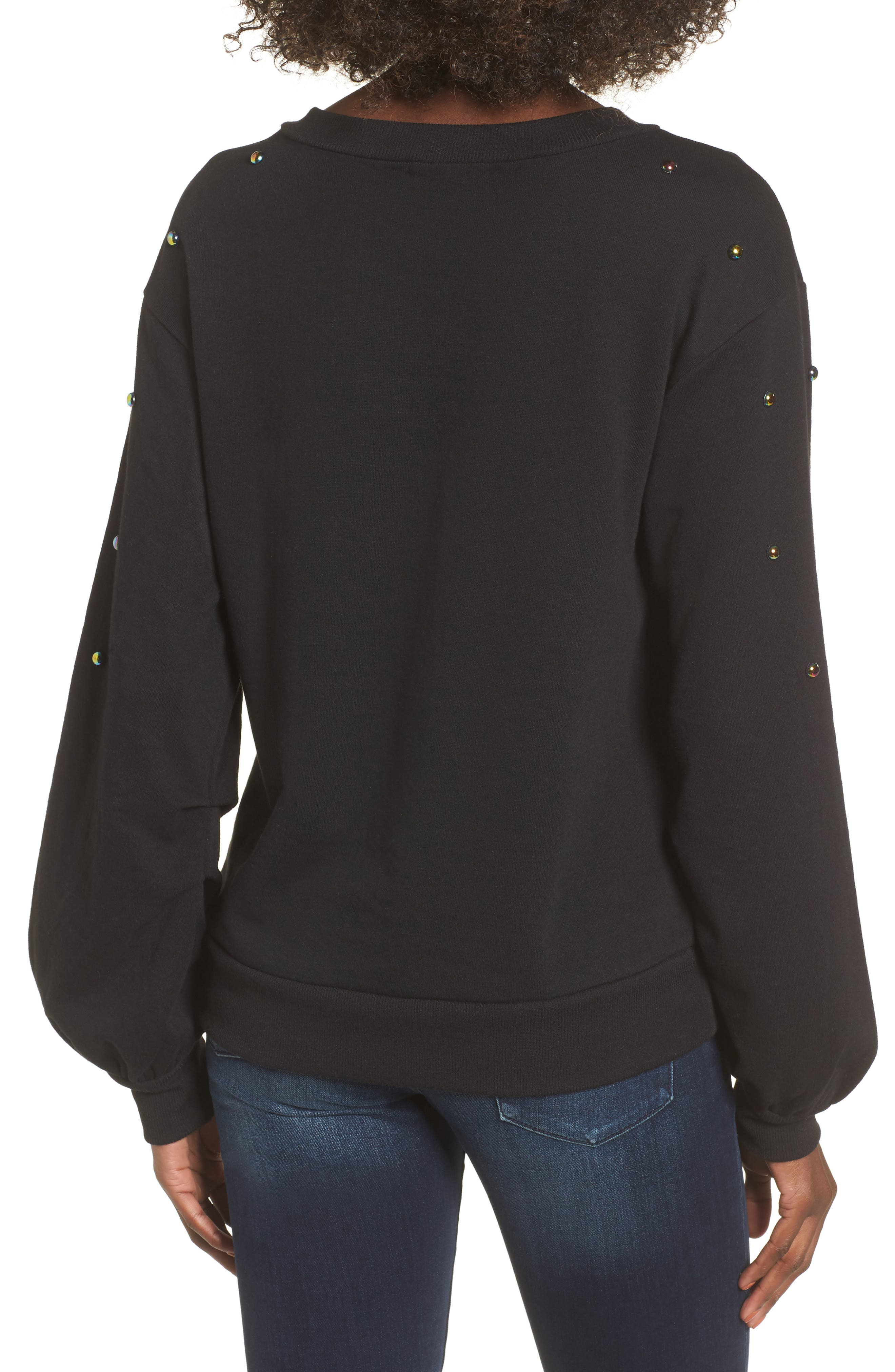 Studded Bell Sleeve Pullover,                             Alternate thumbnail 2, color,                             001