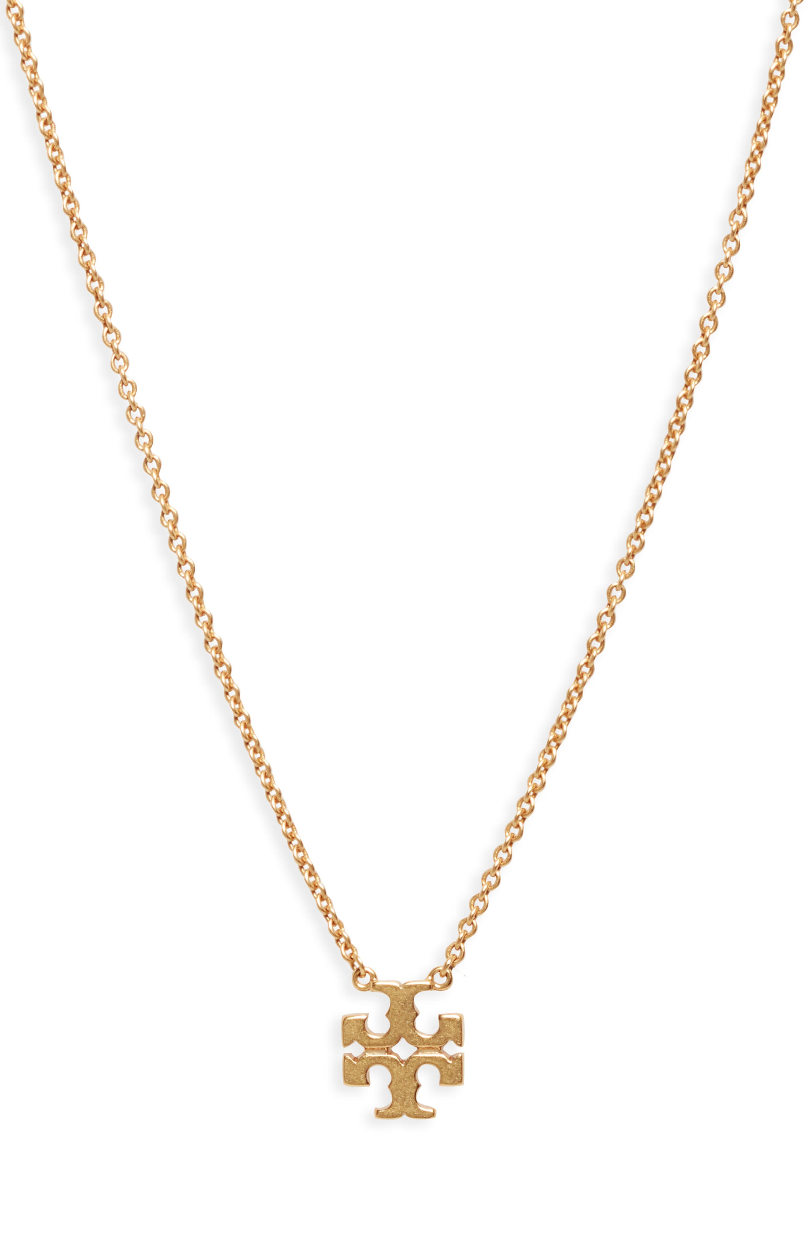 TORY BURCH,                             Logo Charm Necklace,                             Main thumbnail 1, color,                             ROLLED BRASS 59