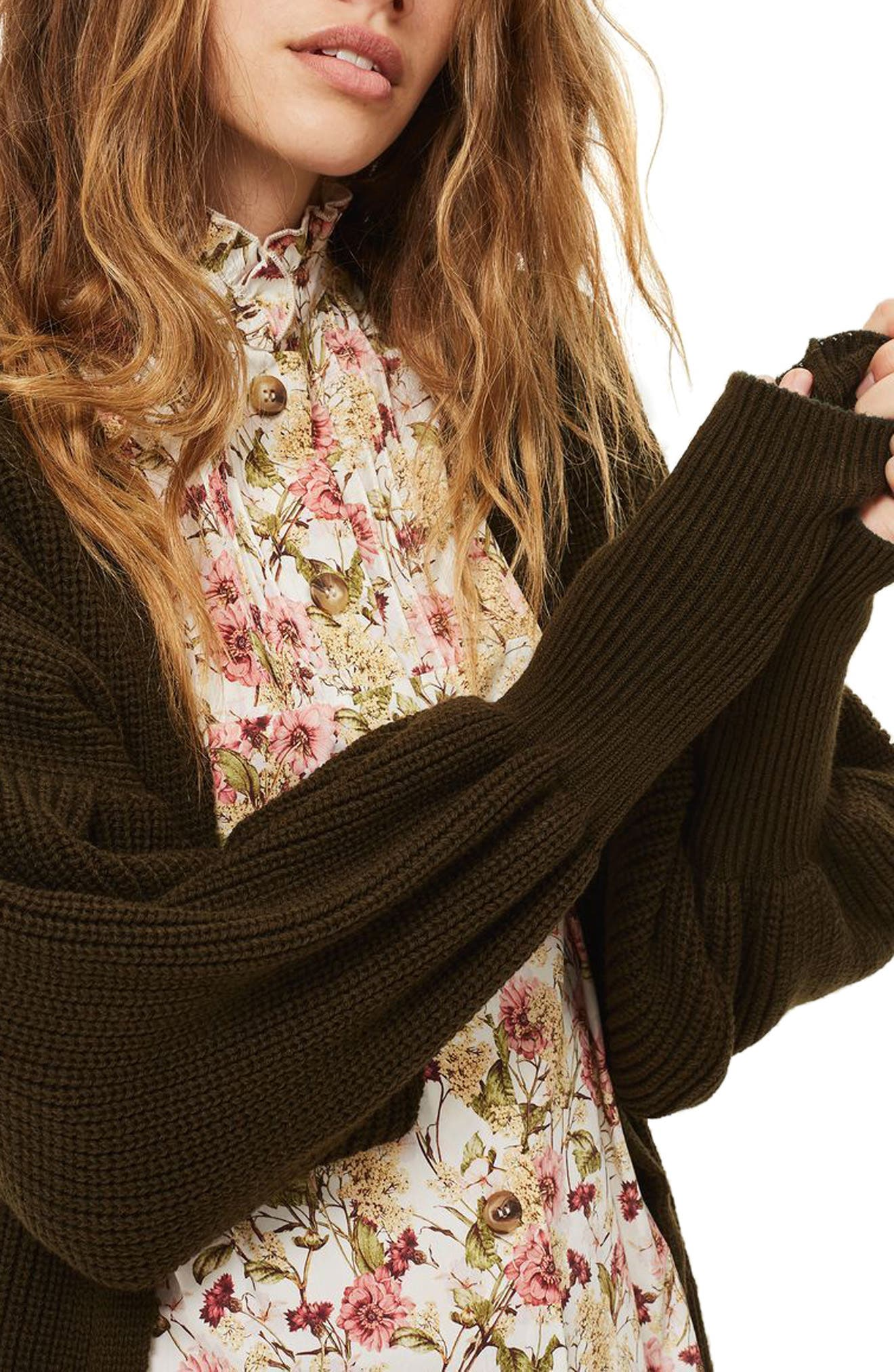 Pleated Balloon Sleeve Cardigan,                             Alternate thumbnail 3, color,