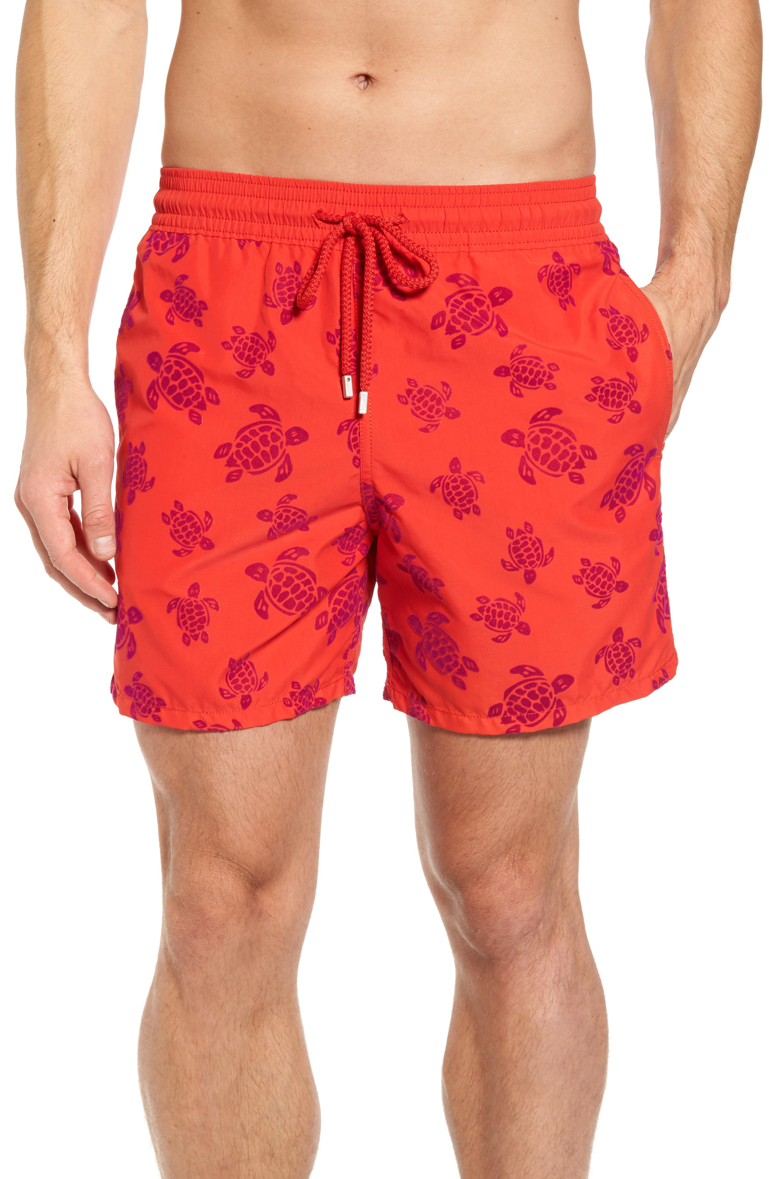 Flocked Turtles Swim Trunks,                         Main,                         color, POPPY RED