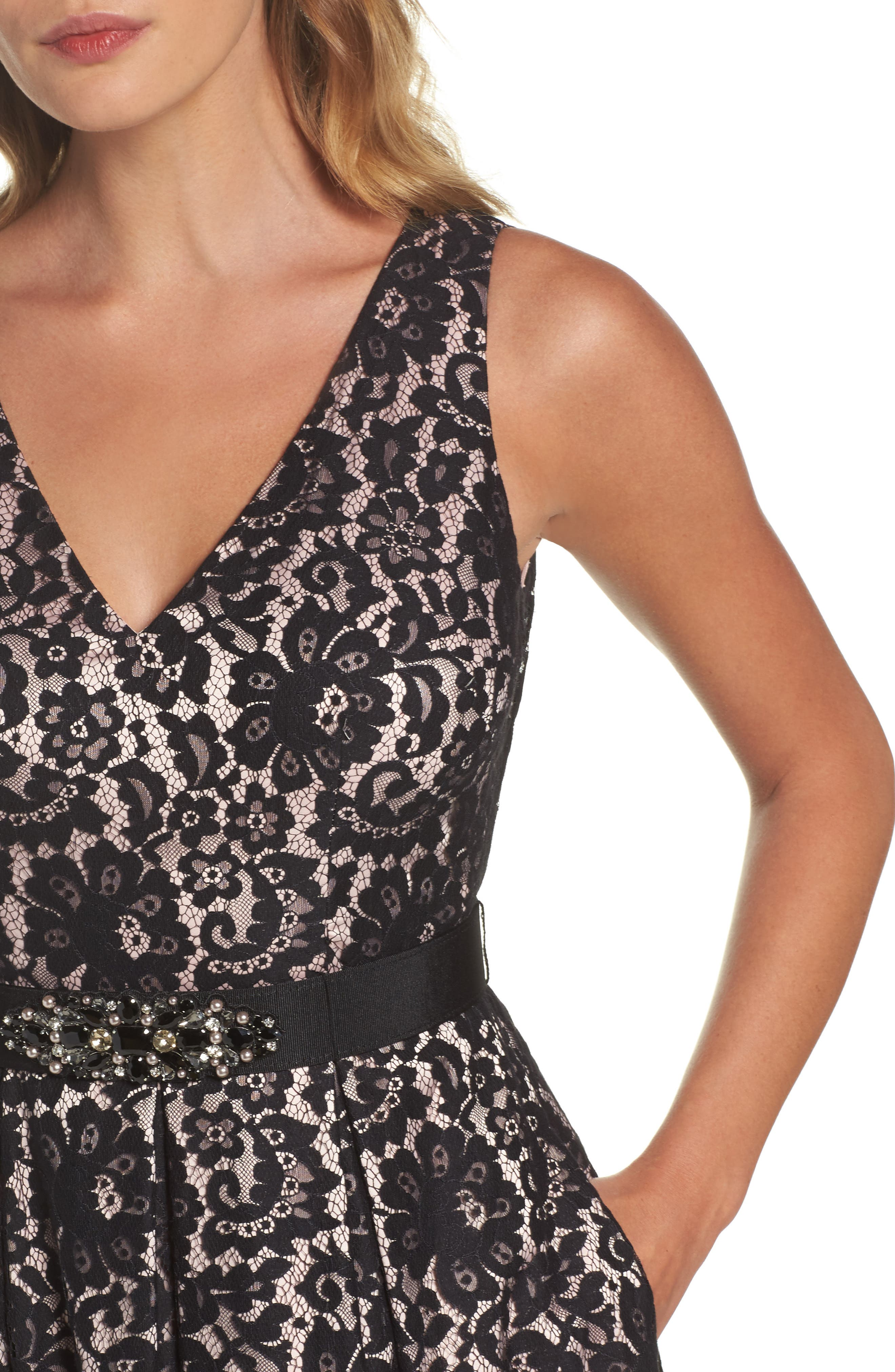 Belted Lace High/Low Dress,                             Alternate thumbnail 4, color,                             001