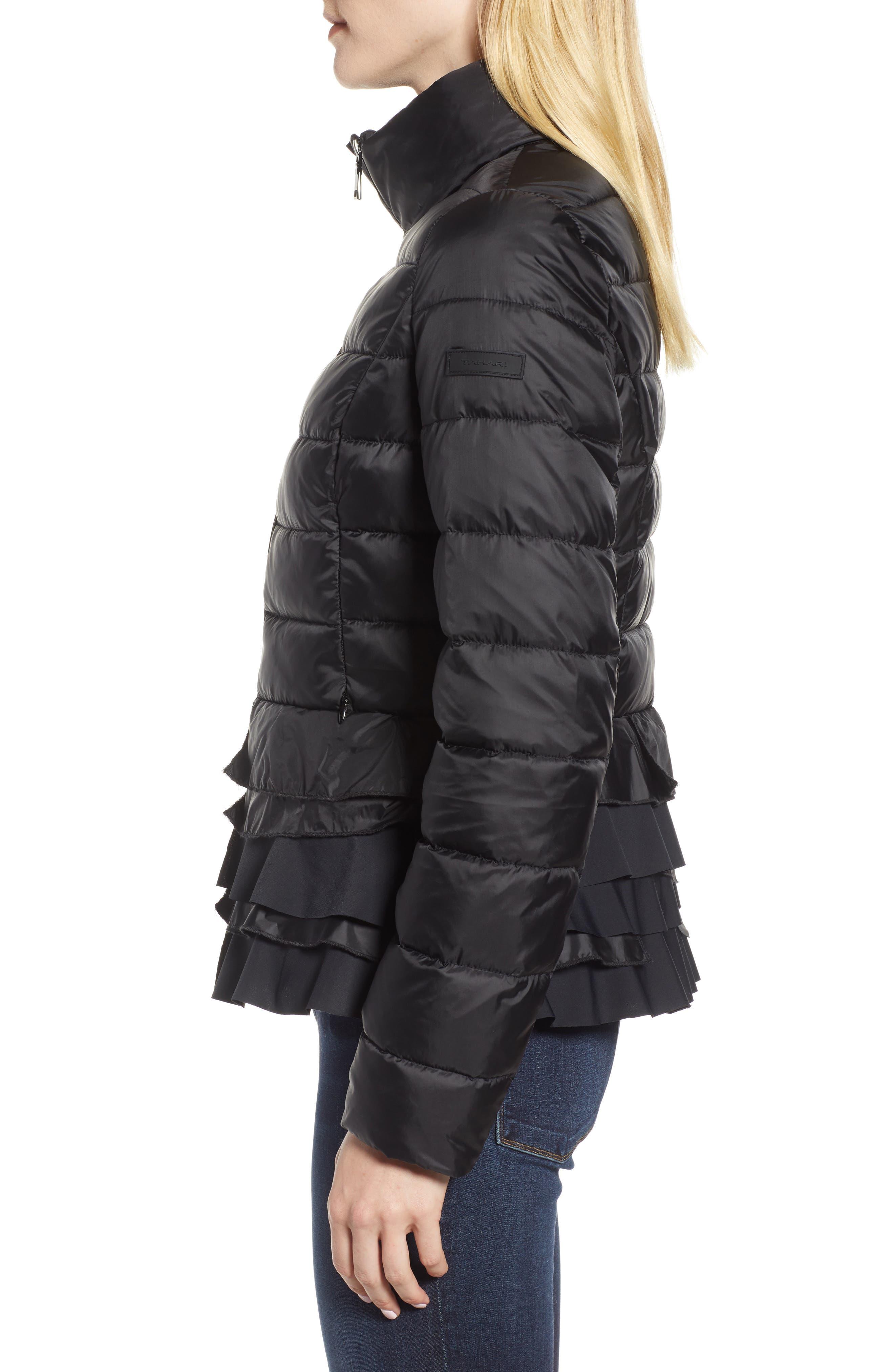 Zoey Ruffle Hem Puffer Jacket,                             Alternate thumbnail 3, color,                             BLACK