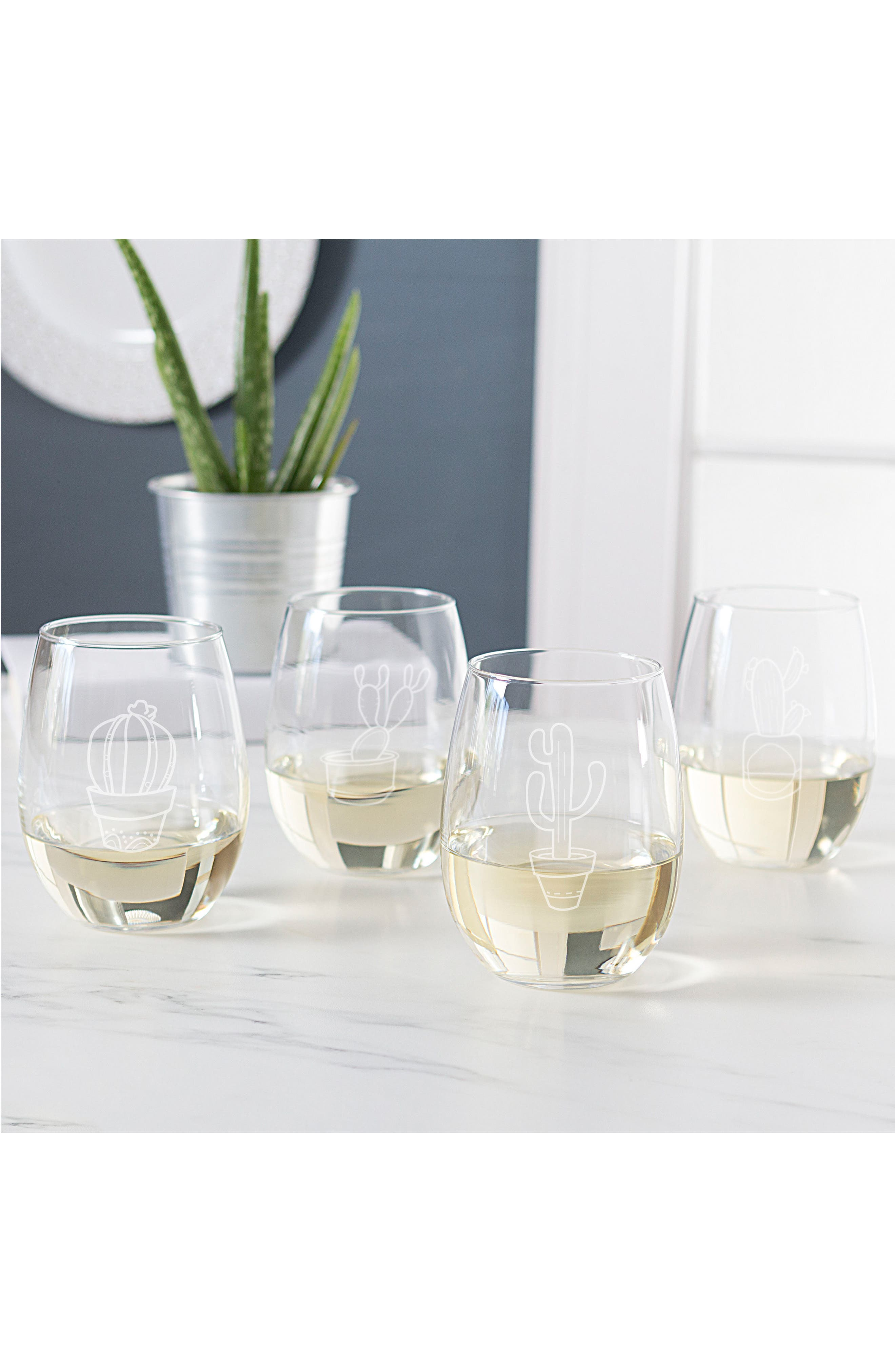 Cactus Set of 4 Stemless Wine Glasses,                             Alternate thumbnail 4, color,                             100