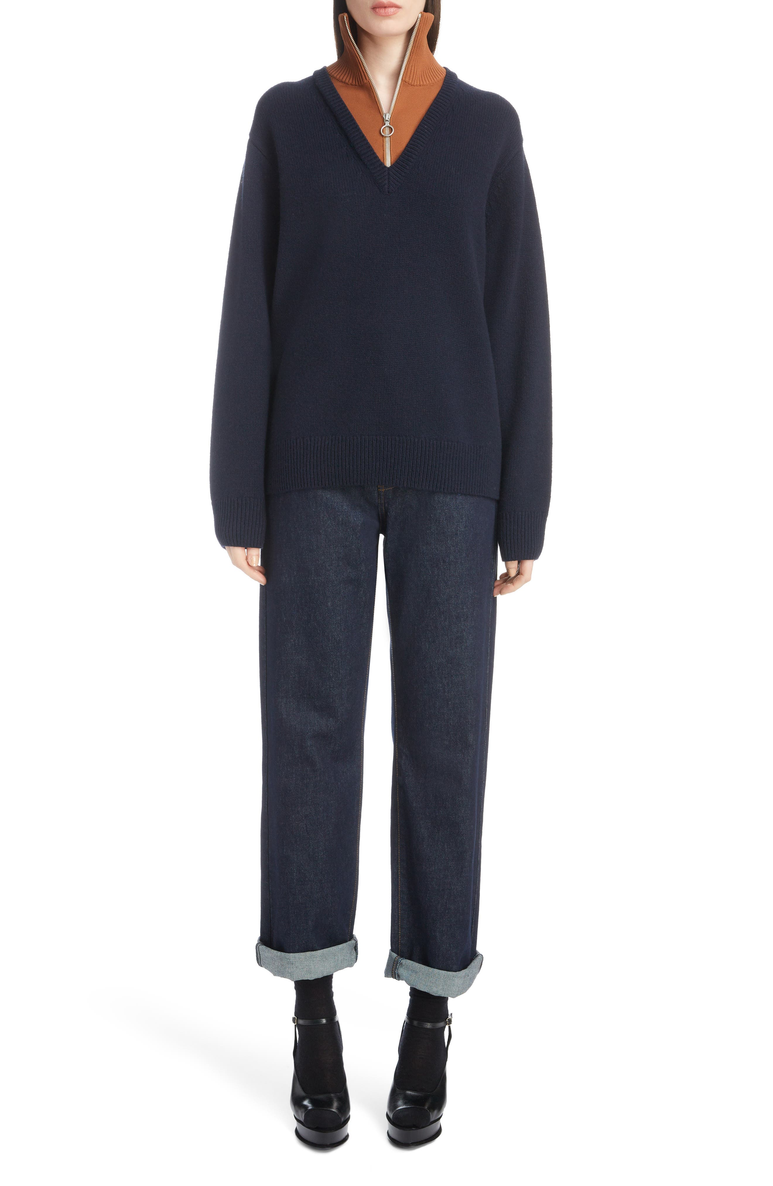 Inset Stretch Wool Sweater,                             Alternate thumbnail 6, color,                             NAVY