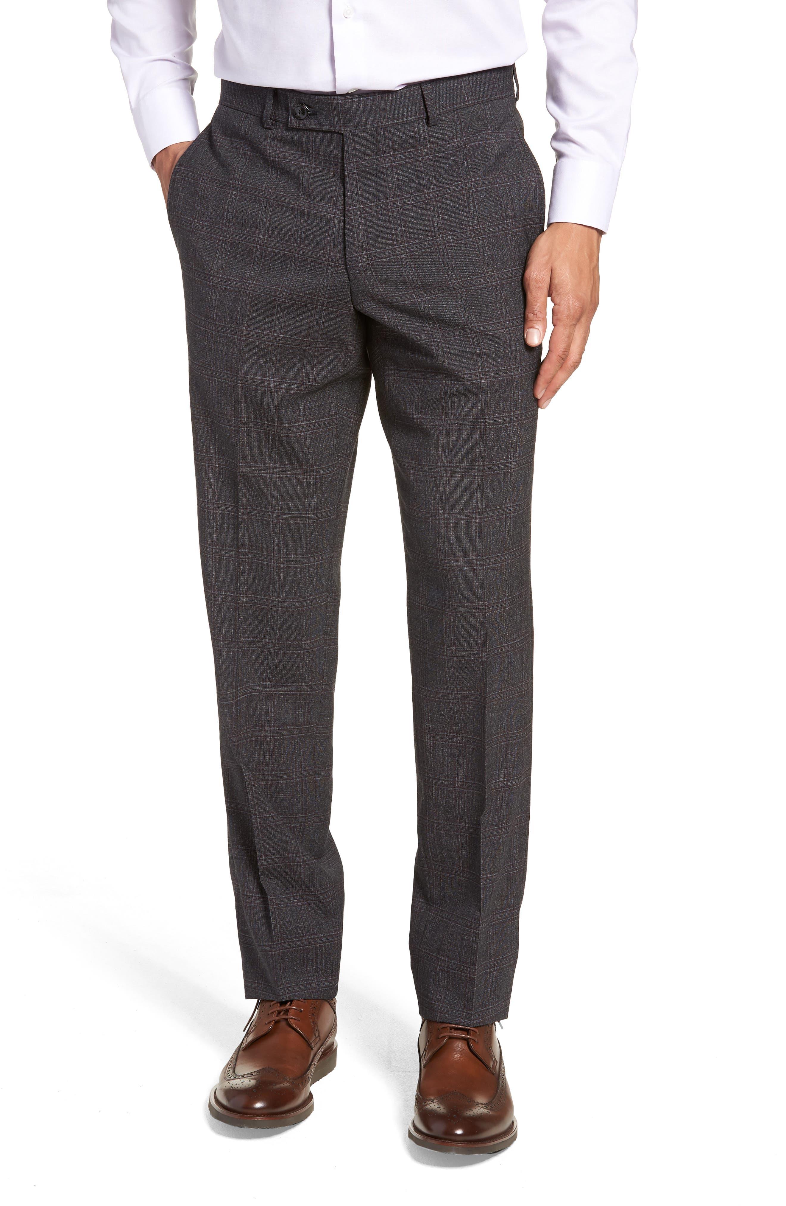 Jay Trim Fit Plaid Wool Suit,                             Alternate thumbnail 6, color,                             CHARCOAL