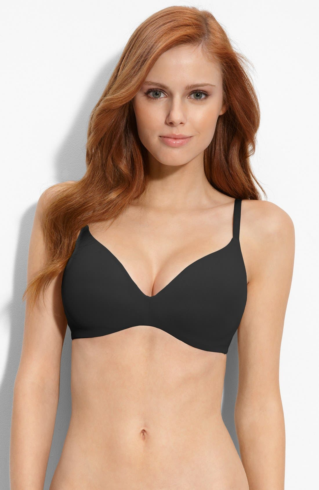 'F2781' Soft Cup Contour Bra,                         Main,                         color, BLACK