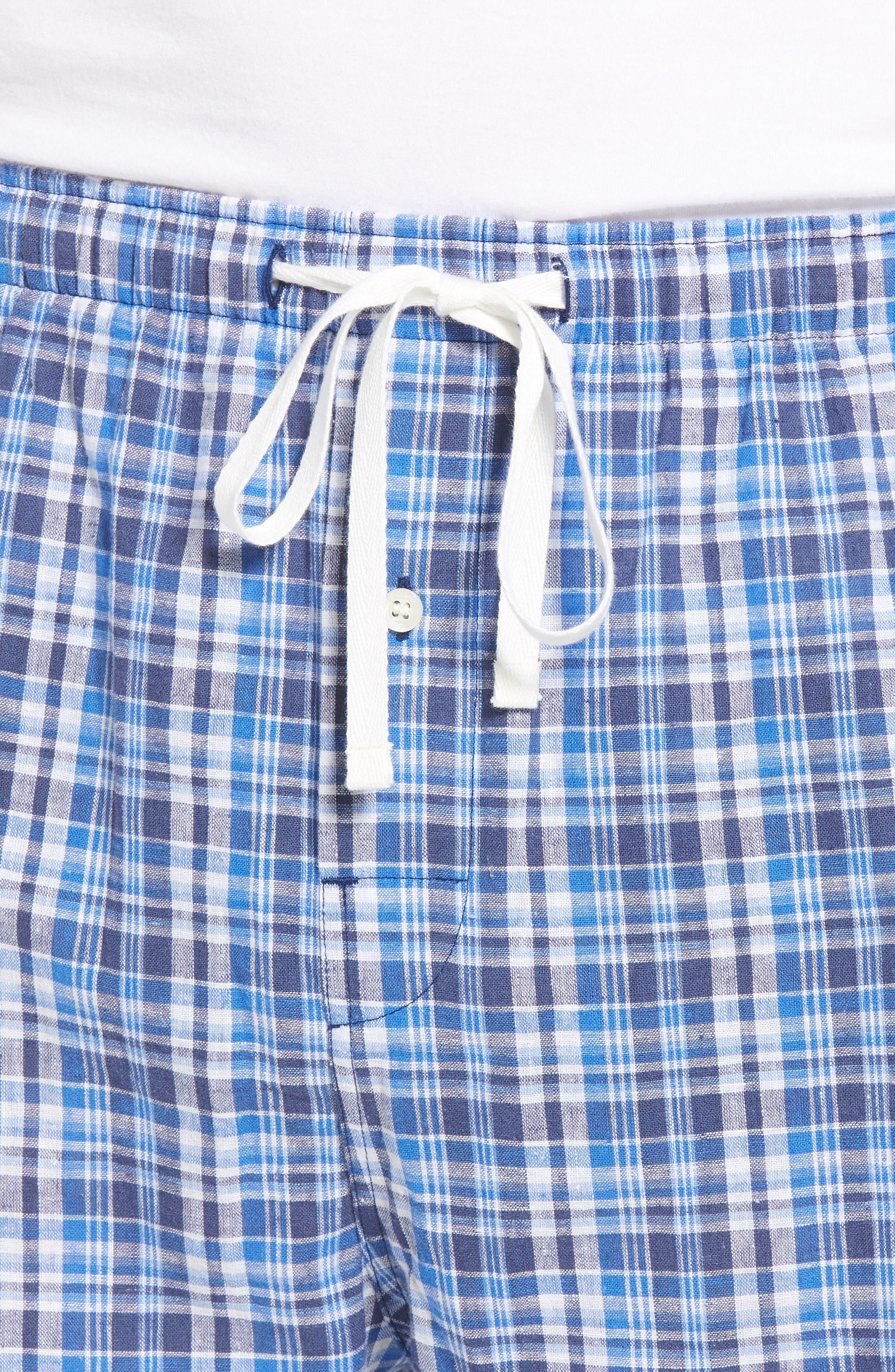 Walker Plaid Cotton & Linen Pajama Pants,                             Alternate thumbnail 4, color,                             WALKER PLAID/ CRUISE NAVY
