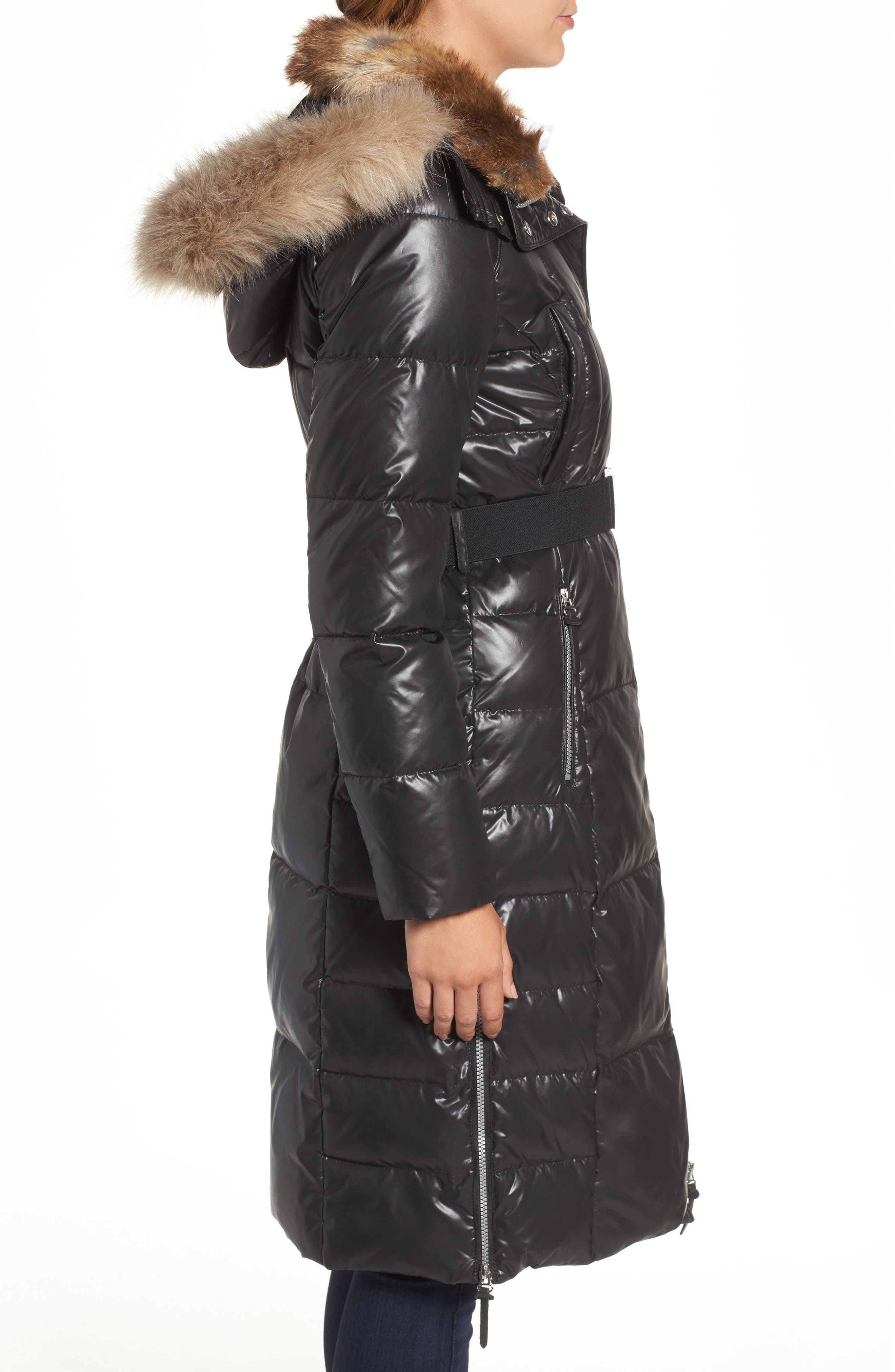 Lacquer Down Puffer Jacket with Faux Fur Hood,                             Alternate thumbnail 3, color,                             001