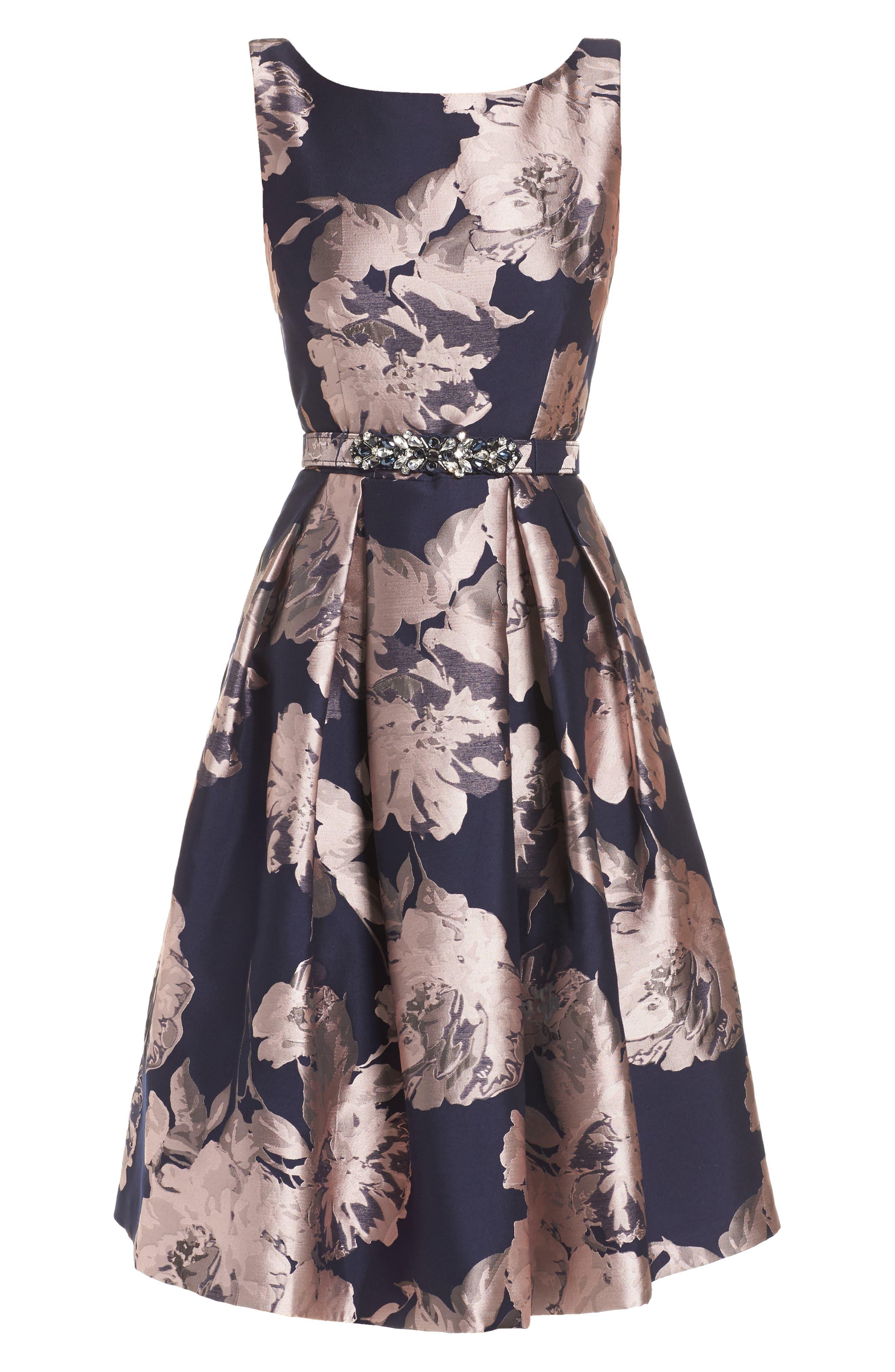 Belted Brocade A-Line Dress,                             Alternate thumbnail 6, color,                             410
