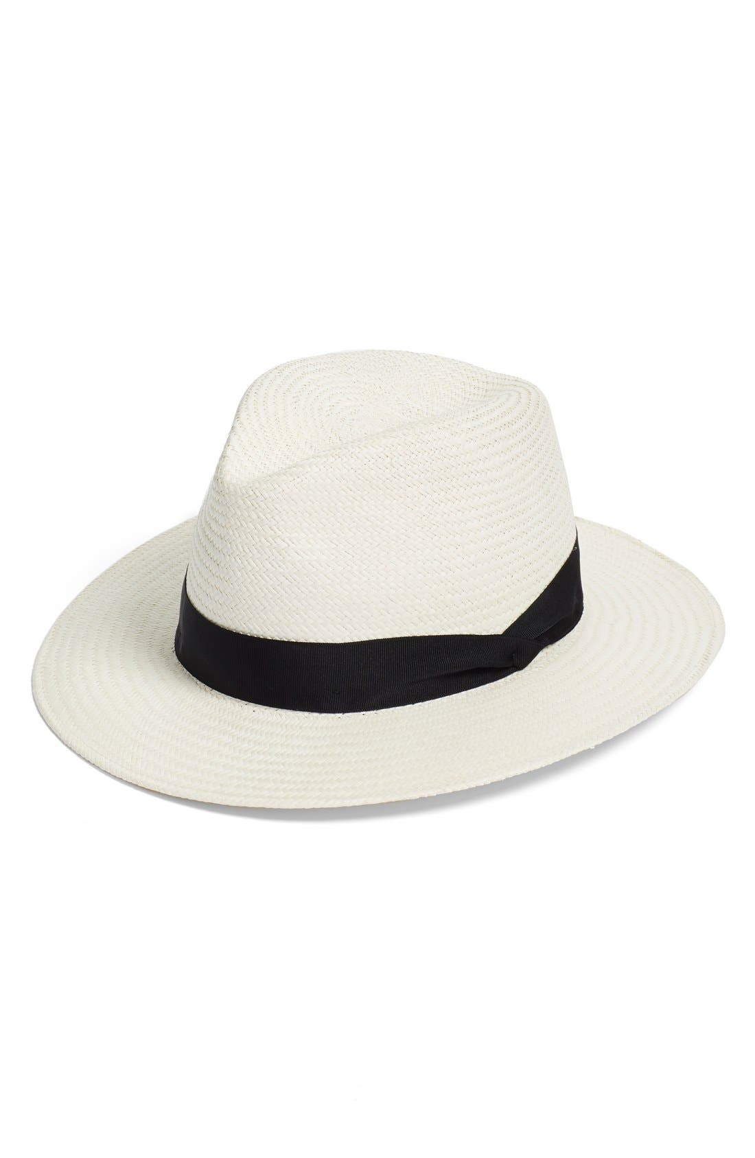 Straw Panama Hat,                             Main thumbnail 1, color,                             WHITE