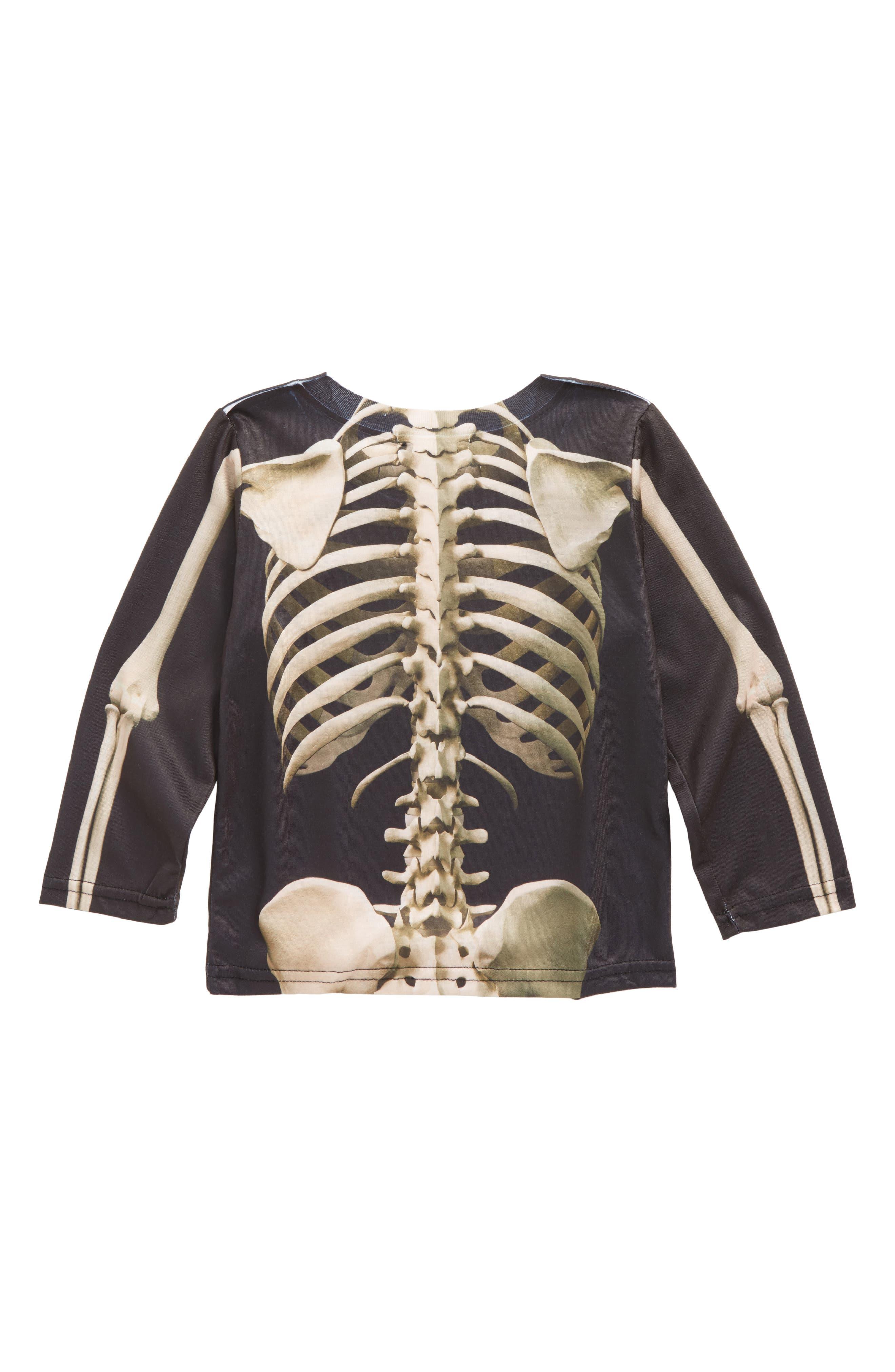 Skeleton Screenprint T-Shirt,                             Alternate thumbnail 2, color,                             001