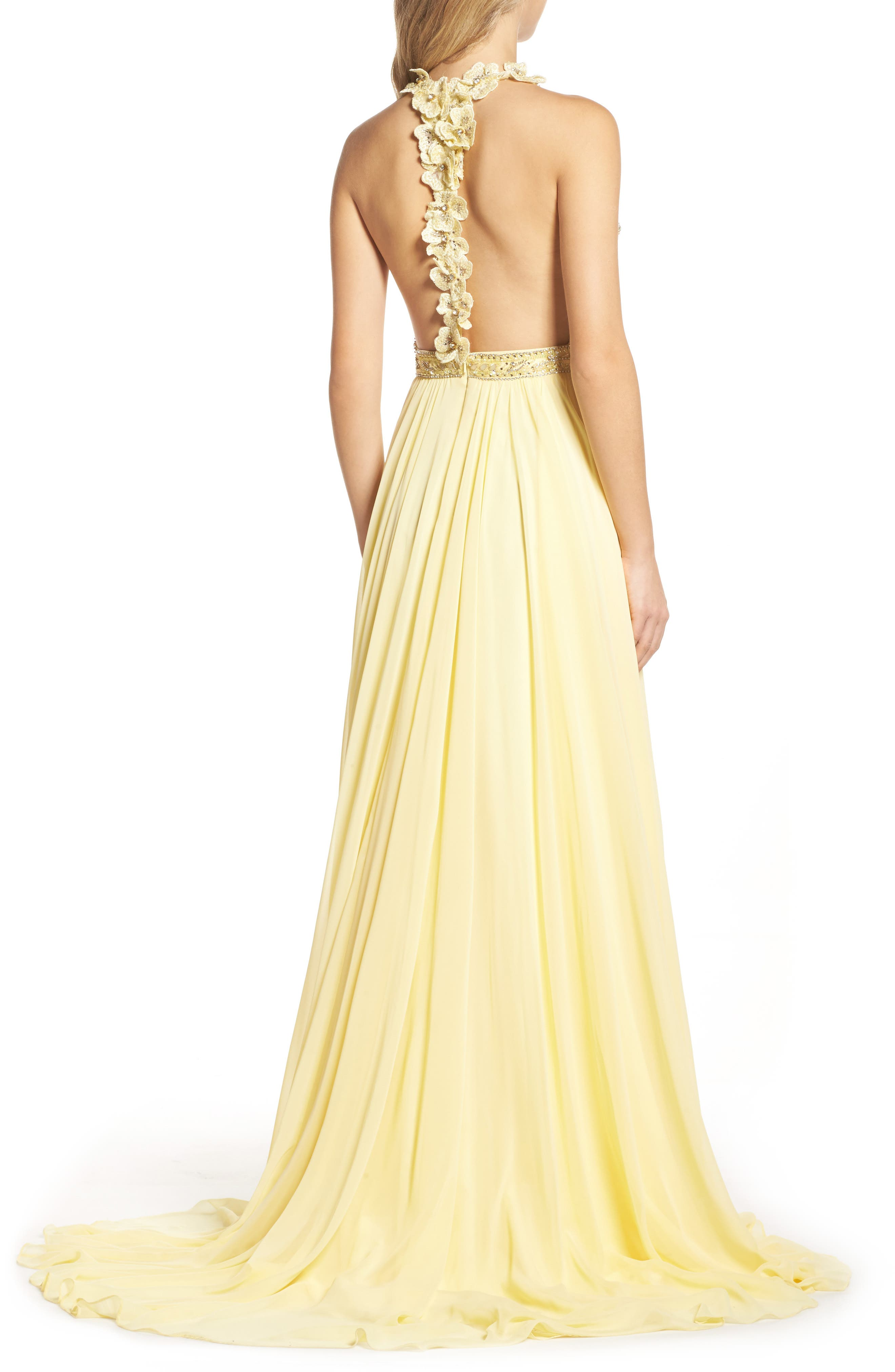 Beaded Halter Neck Gown,                             Alternate thumbnail 2, color,                             750