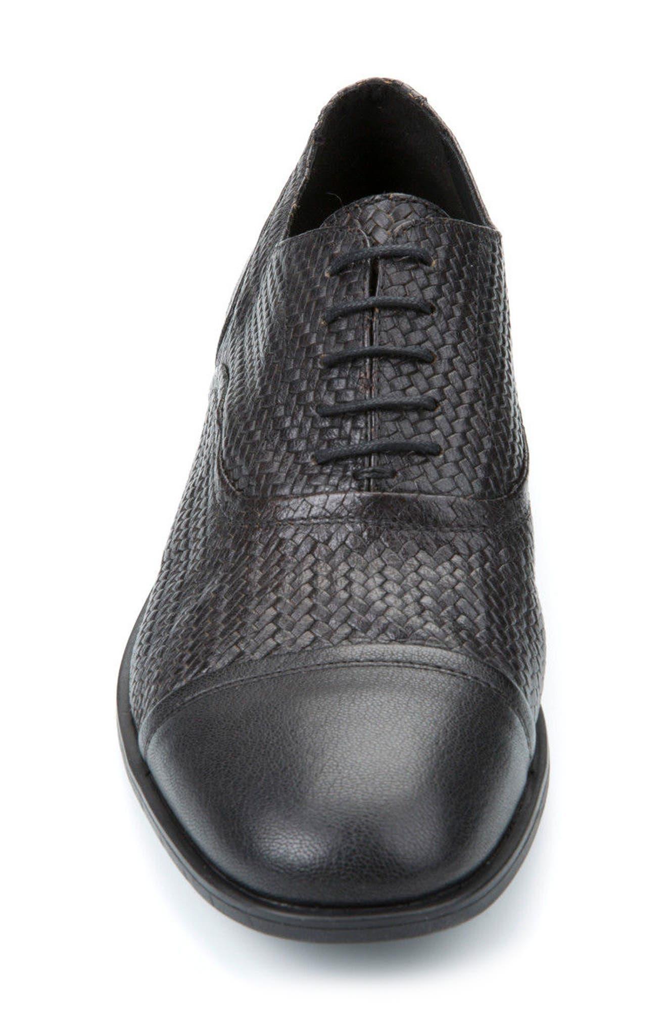 Bryceton Textured Cap Toe Oxford,                             Alternate thumbnail 4, color,                             BLACK LEATHER