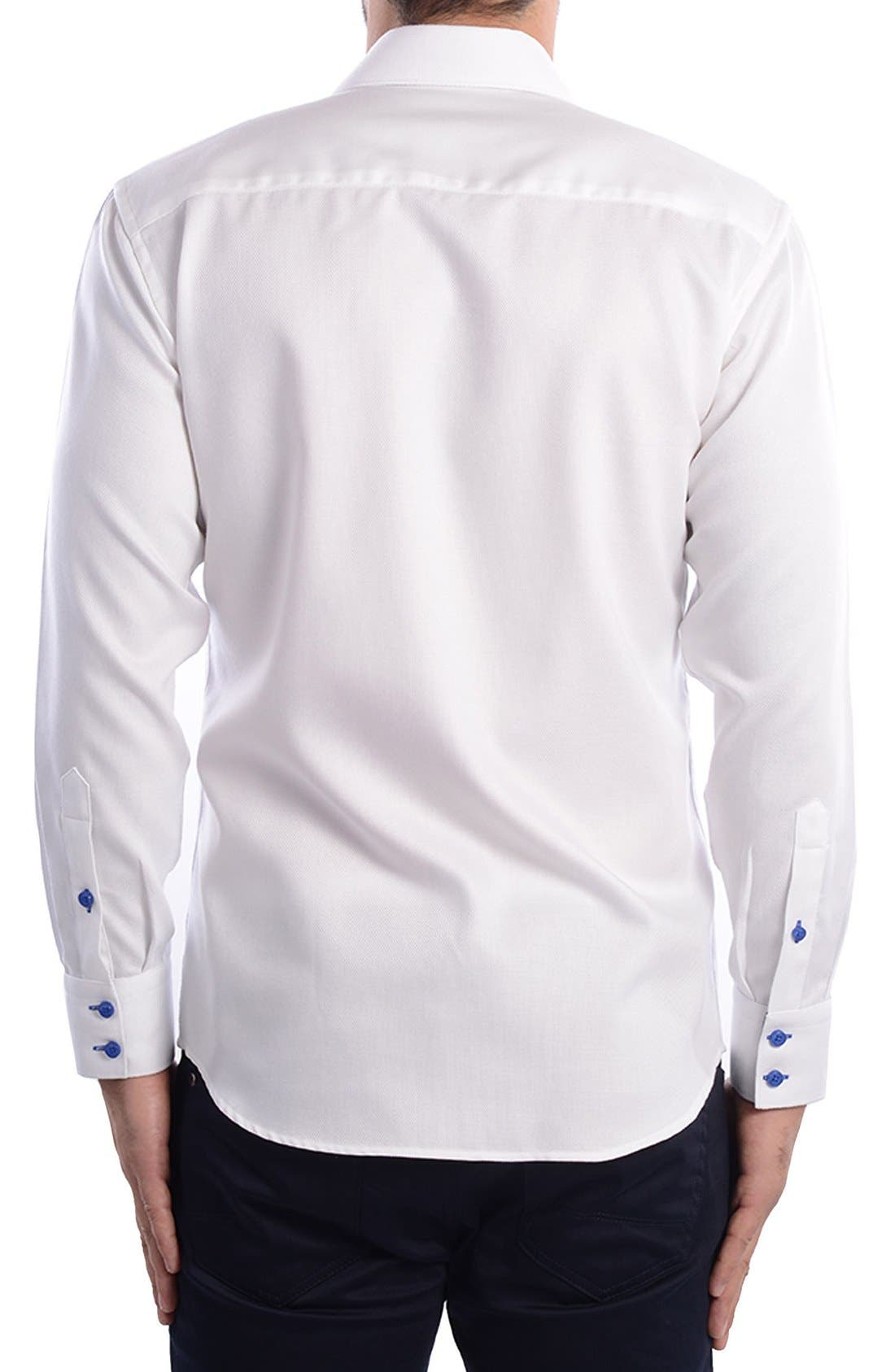 White Arrow Dobby Modern Fit Sport Shirt,                             Alternate thumbnail 4, color,