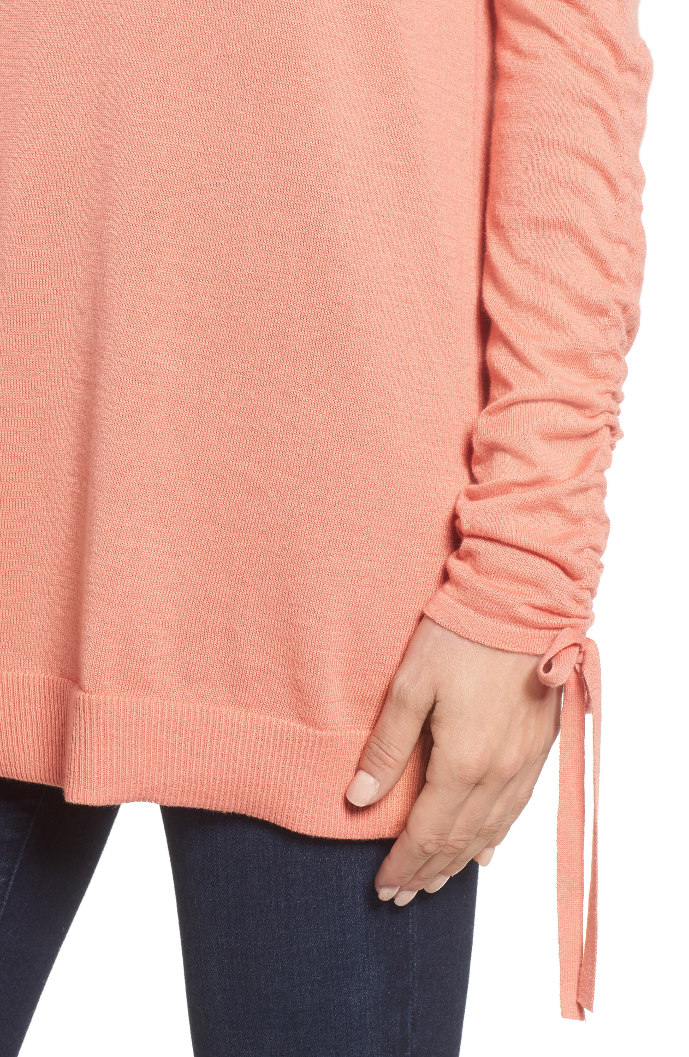 Ruched Sleeve Tunic Sweater,                             Alternate thumbnail 20, color,