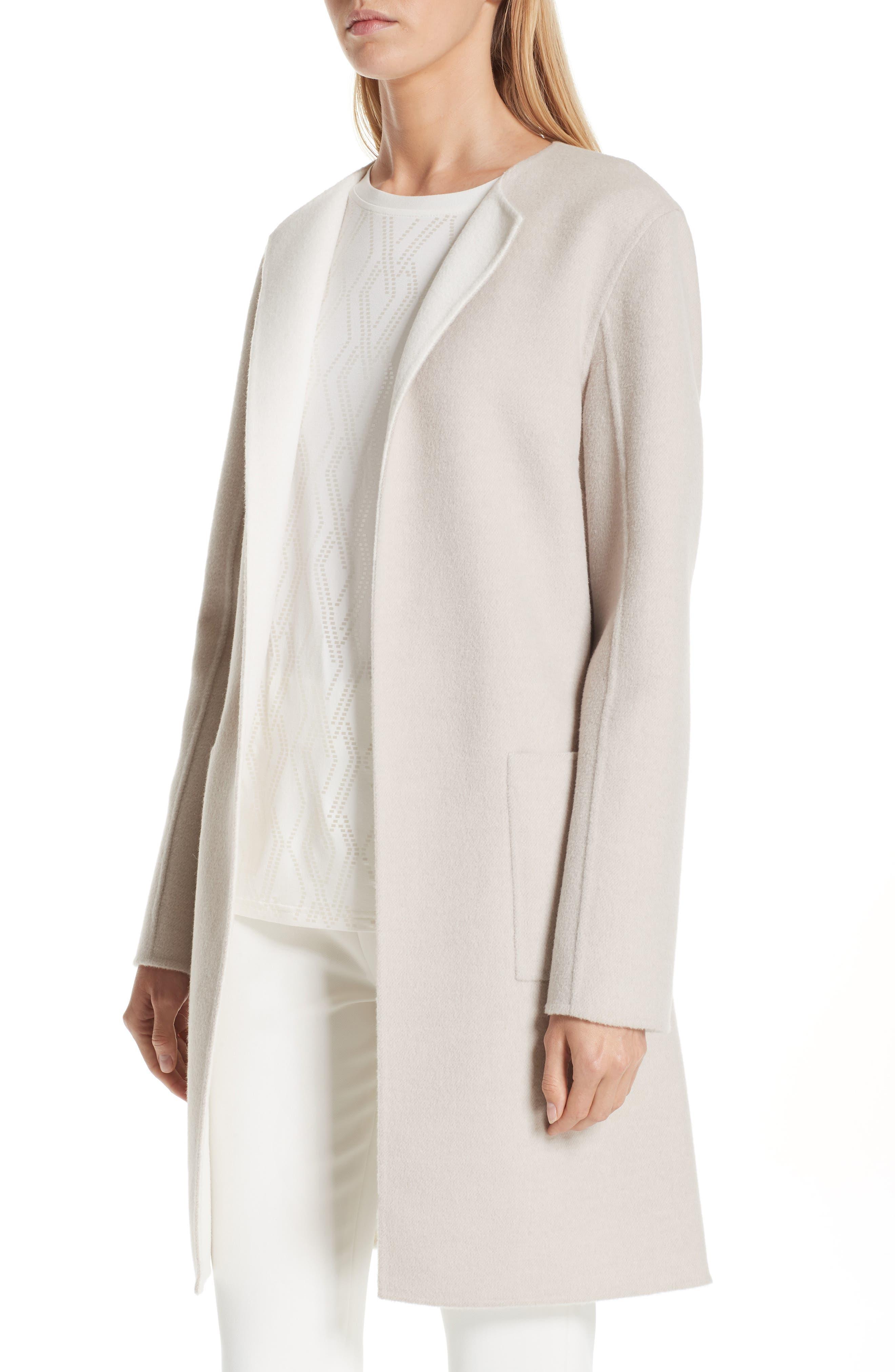 Reversible Double Face Wool & Angora Blend Topper,                             Alternate thumbnail 6, color,                             HAZELNUT MELANGE/ CREAM