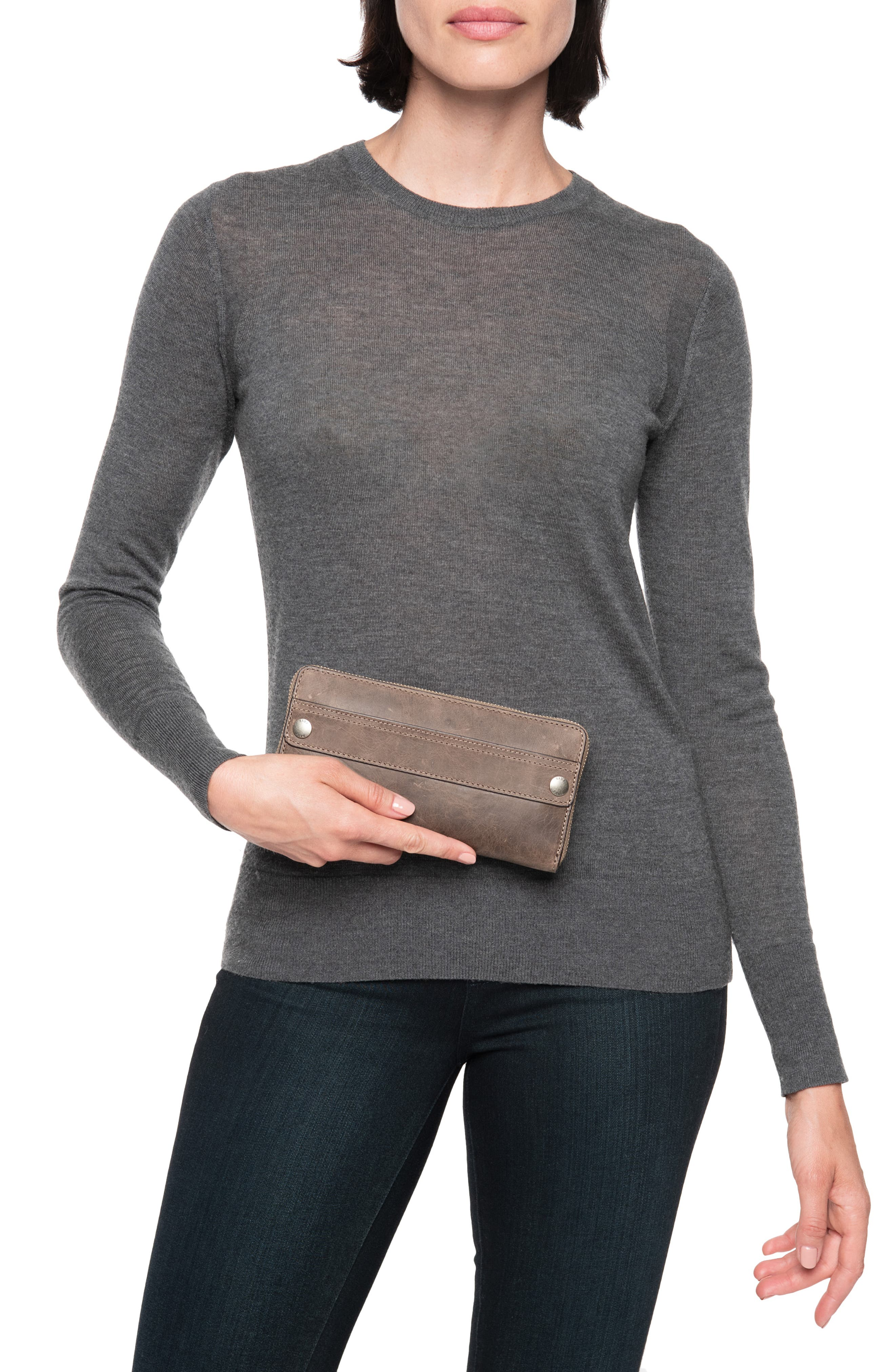 Melissa 2 Leather Zip Wallet,                             Alternate thumbnail 2, color,                             GREY
