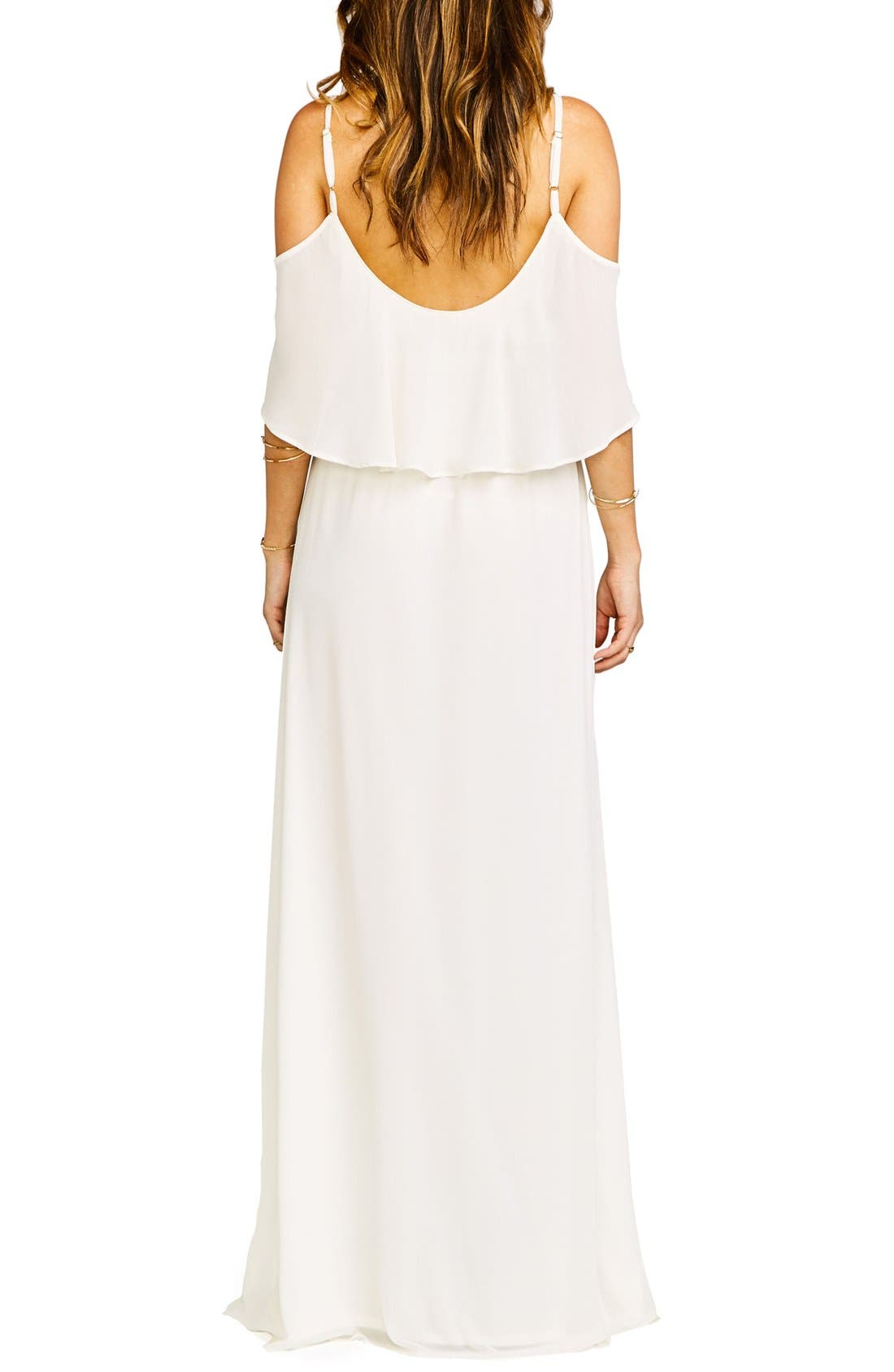 Caitlin Cold Shoulder Chiffon Gown,                             Alternate thumbnail 28, color,