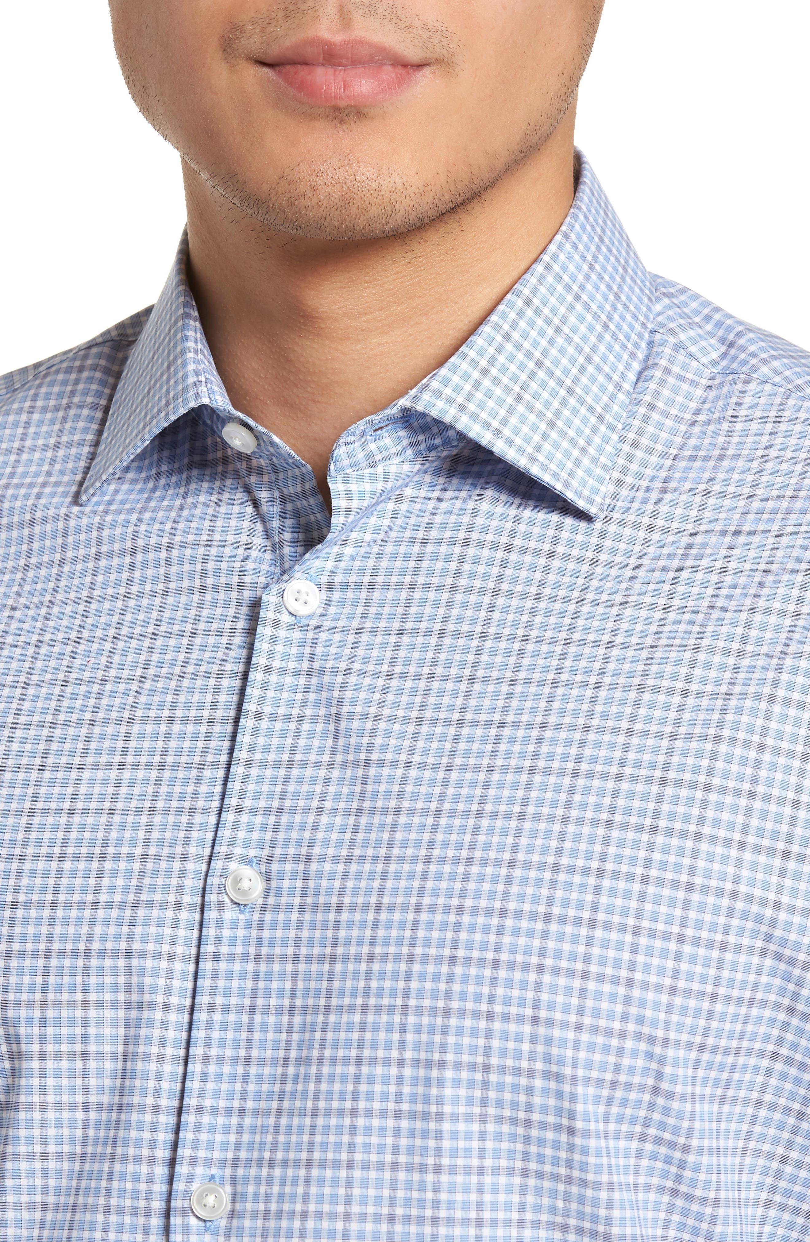 Regular Fit Stretch Check Dress Shirt,                             Alternate thumbnail 2, color,                             SKY
