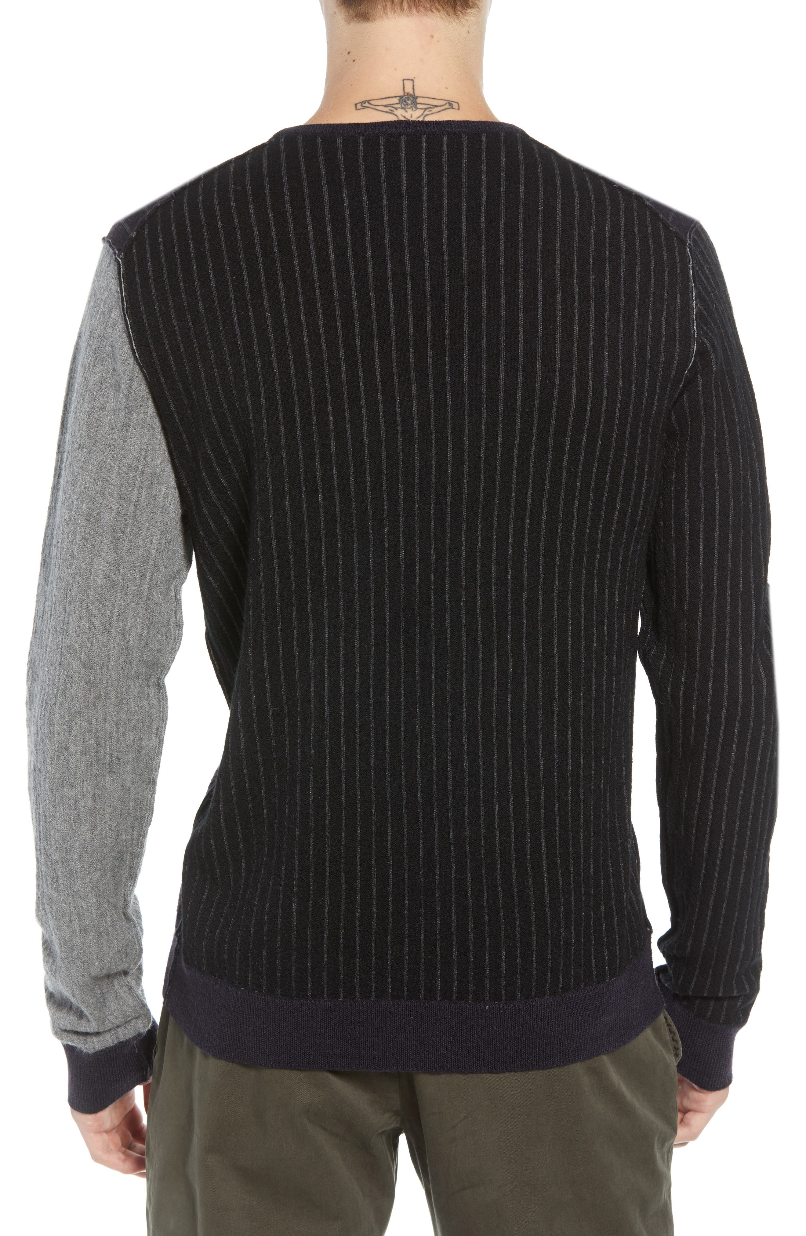 Boiled Wool Blend Crewneck Sweater,                             Alternate thumbnail 2, color,                             MULTI STRIPE